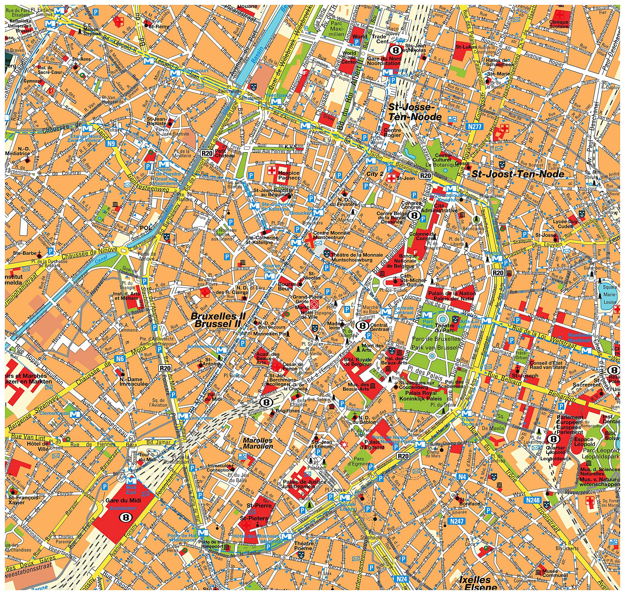 Large Brussels Maps for Free Download and Print | High-Resolution ...