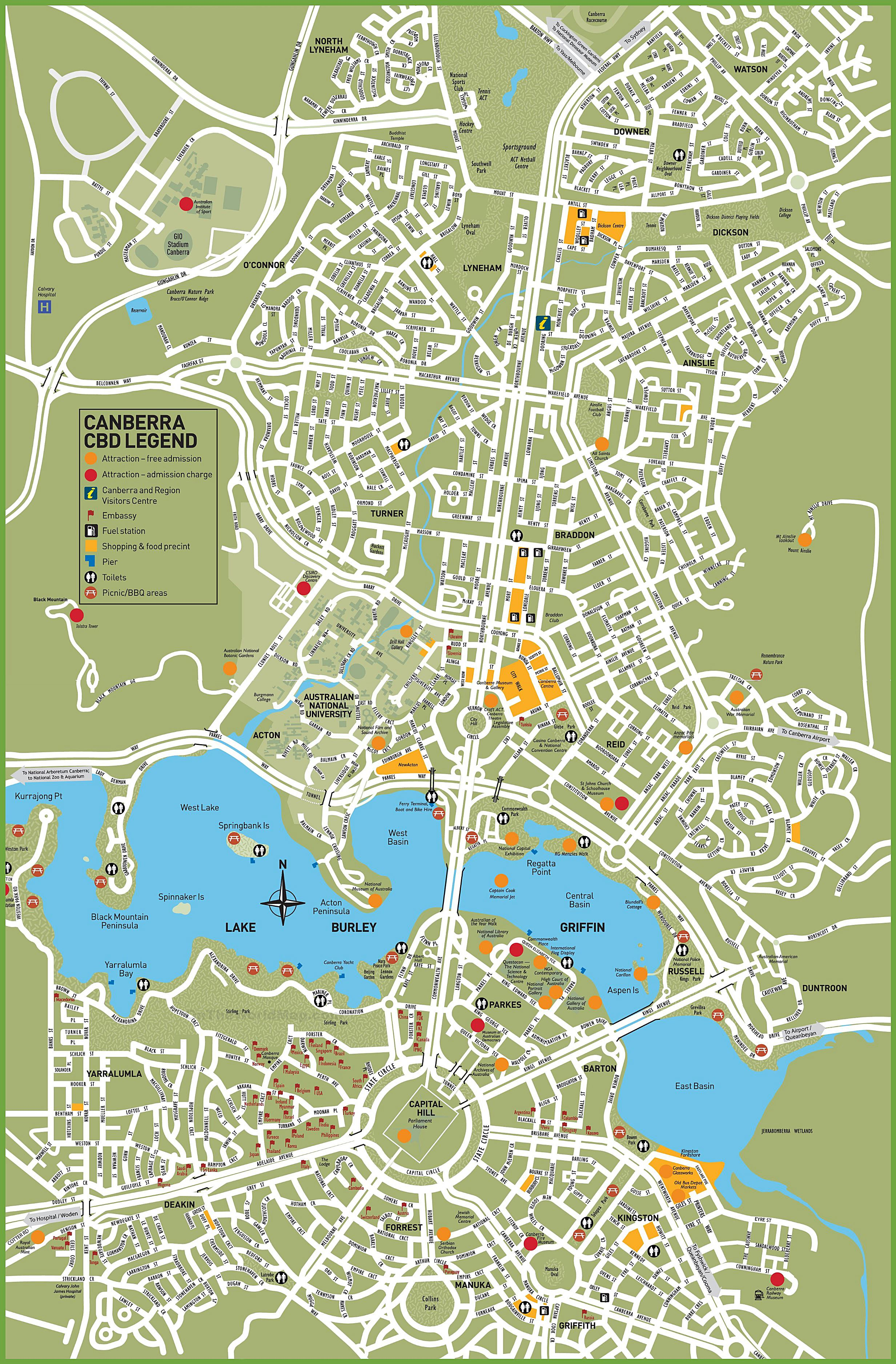Large Canberra Maps for Free Download and Print HighResolution