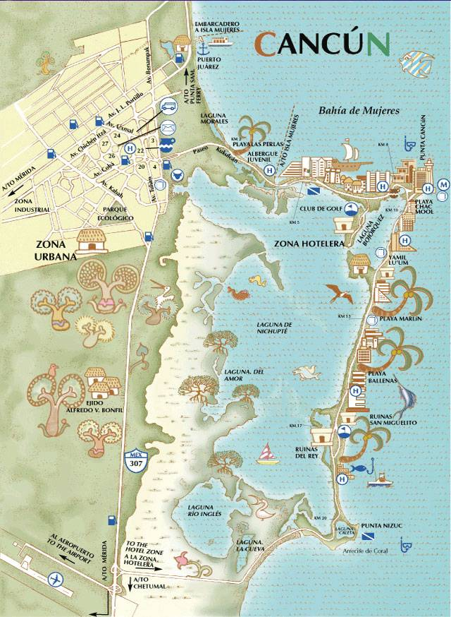 detailed map of cancun 2
