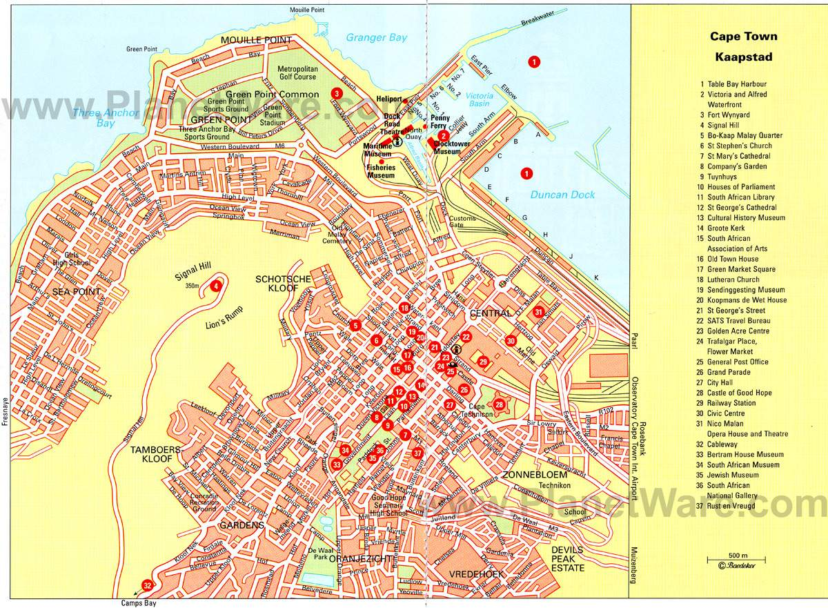 Large Cape Town Maps for Free Download – Tourist Attractions Map In South Africa