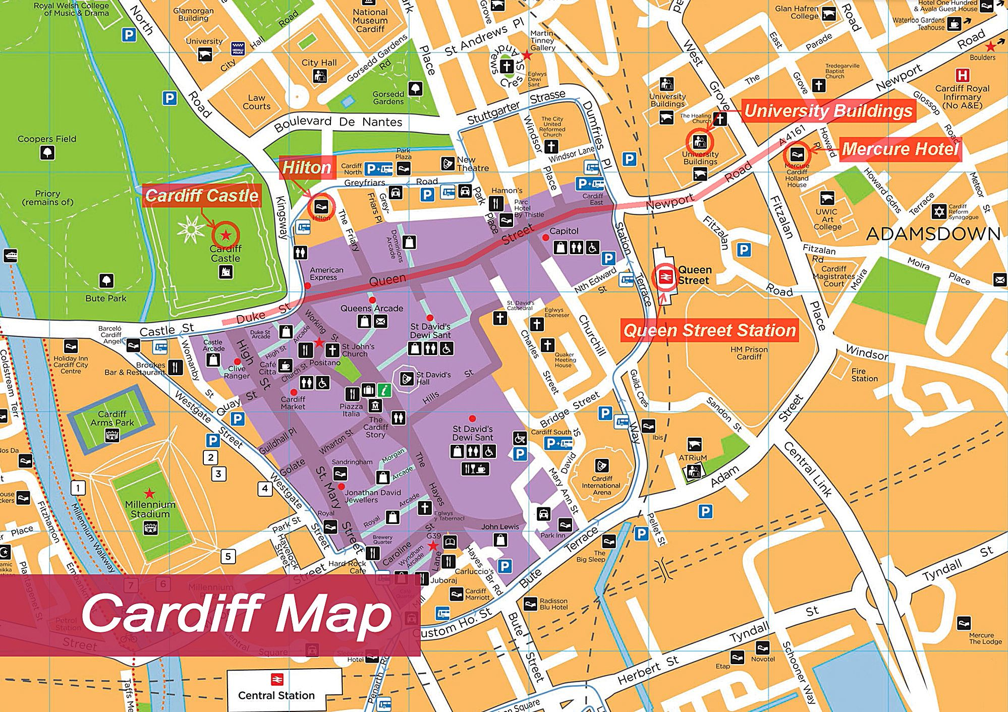Cardiff Street Map Large Cardiff Maps for Free Download and Print | High Resolution  Cardiff Street Map