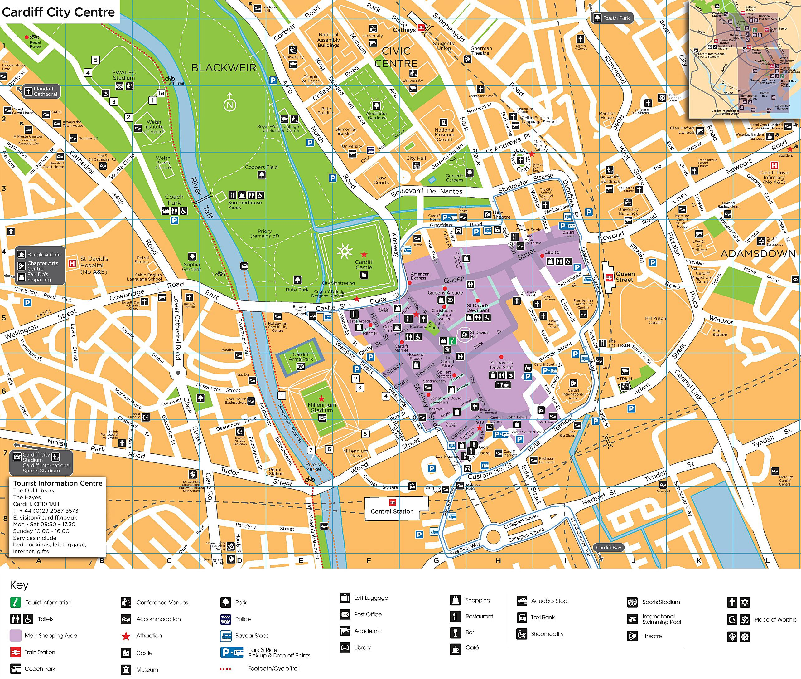 Cardiff City Centre Map Large Cardiff Maps for Free Download and Print | High Resolution