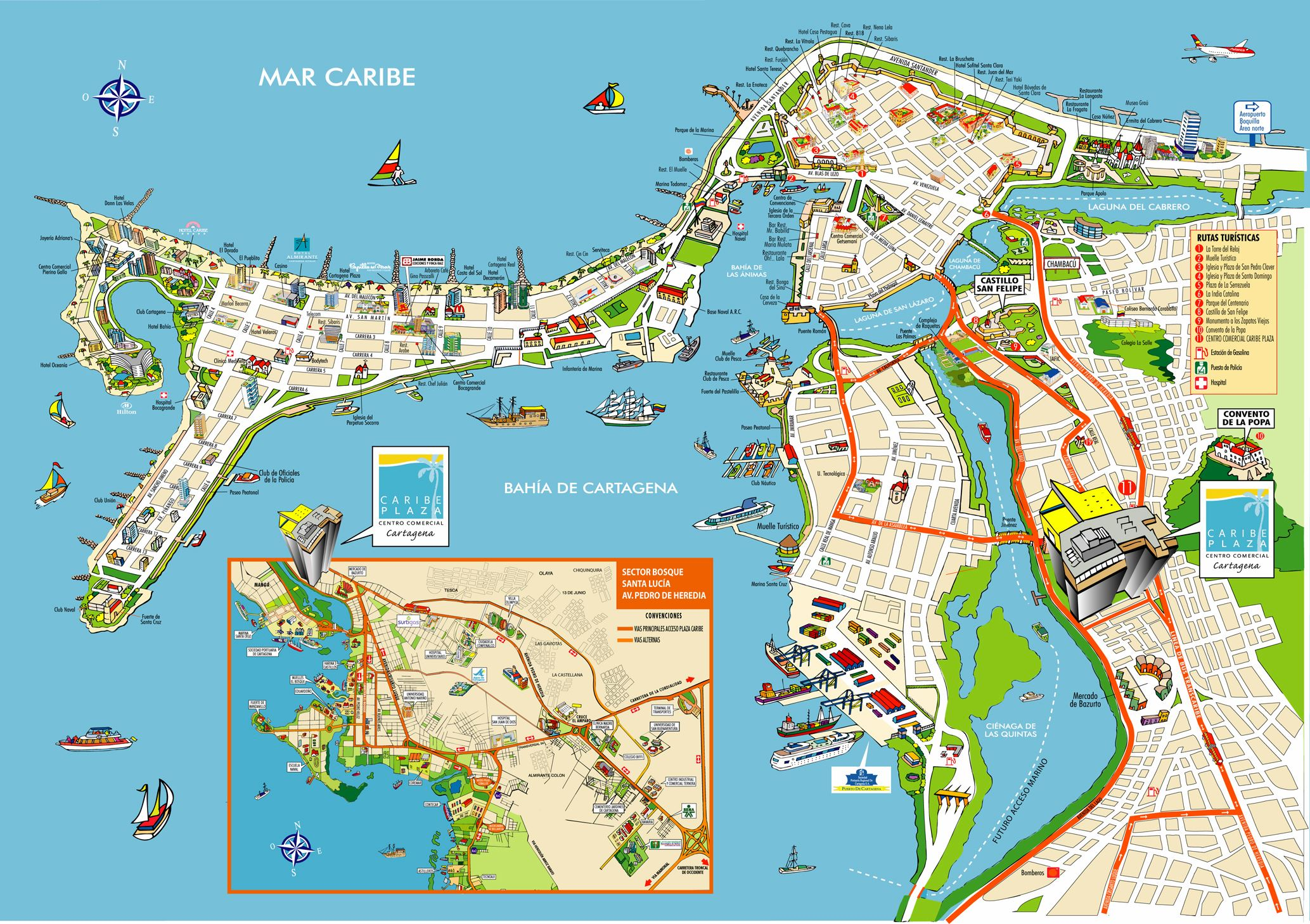Large Cartagena Maps for Free Download and Print | High ... on