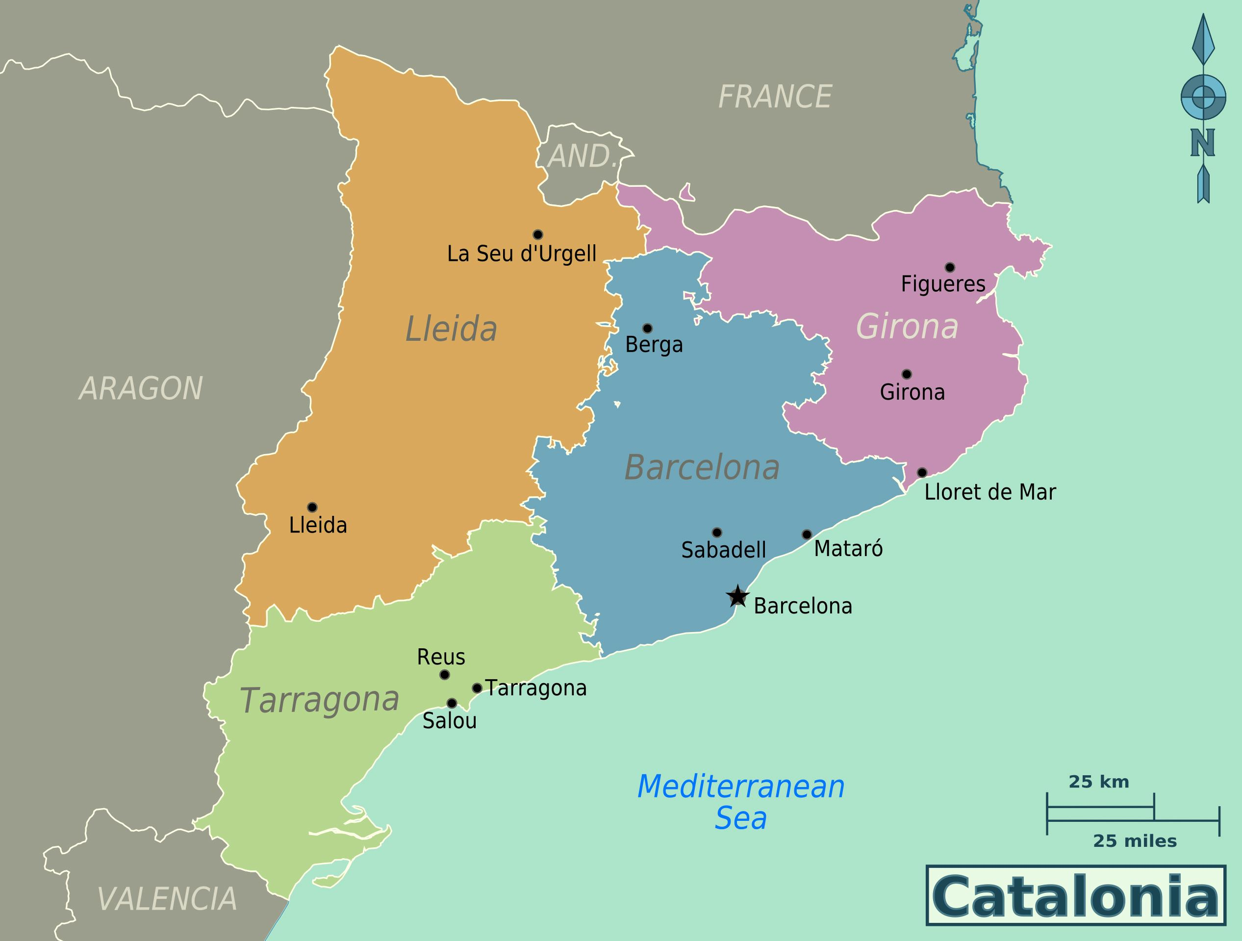 large catalonia maps for free download and print high. Black Bedroom Furniture Sets. Home Design Ideas