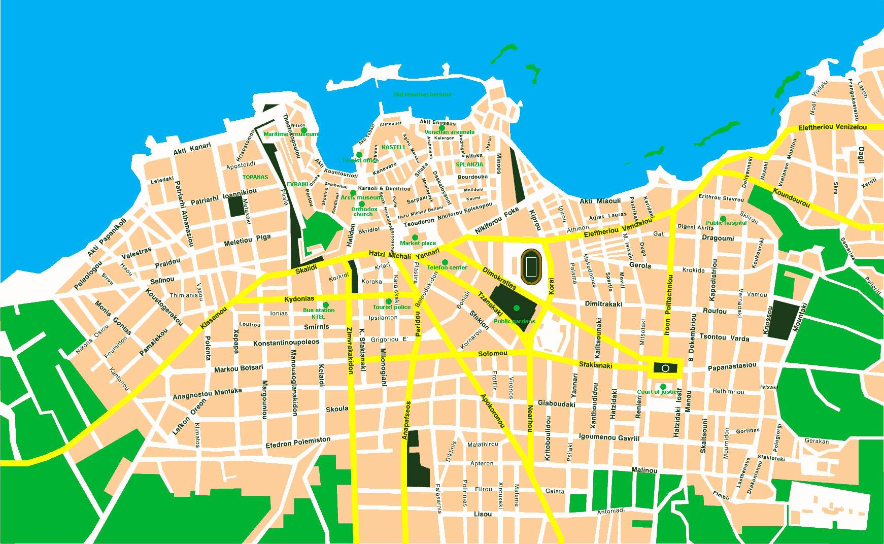 Large Chania Maps for Free Download and Print HighResolution and