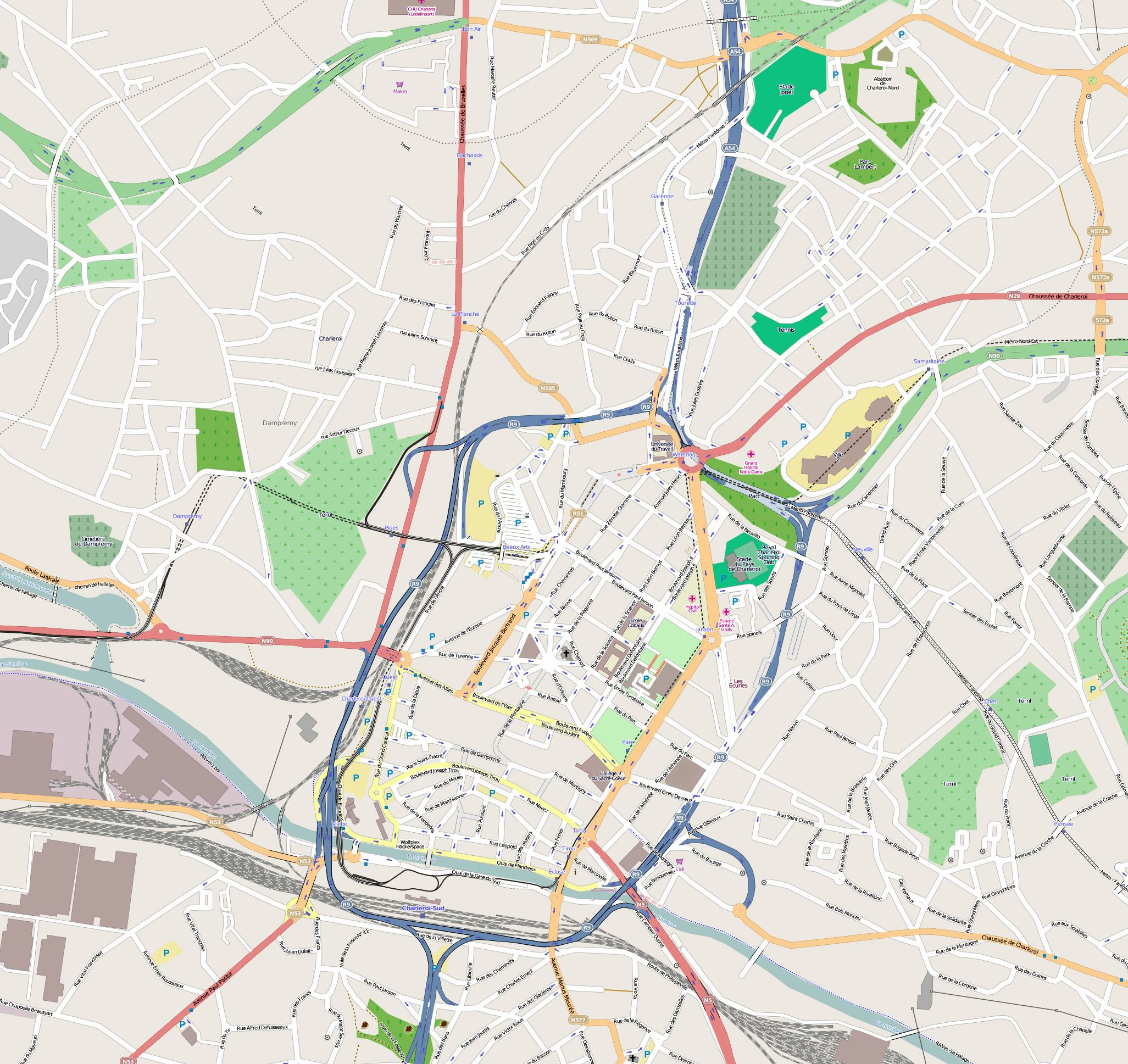 Large Charleroi Maps for Free Download and Print HighResolution