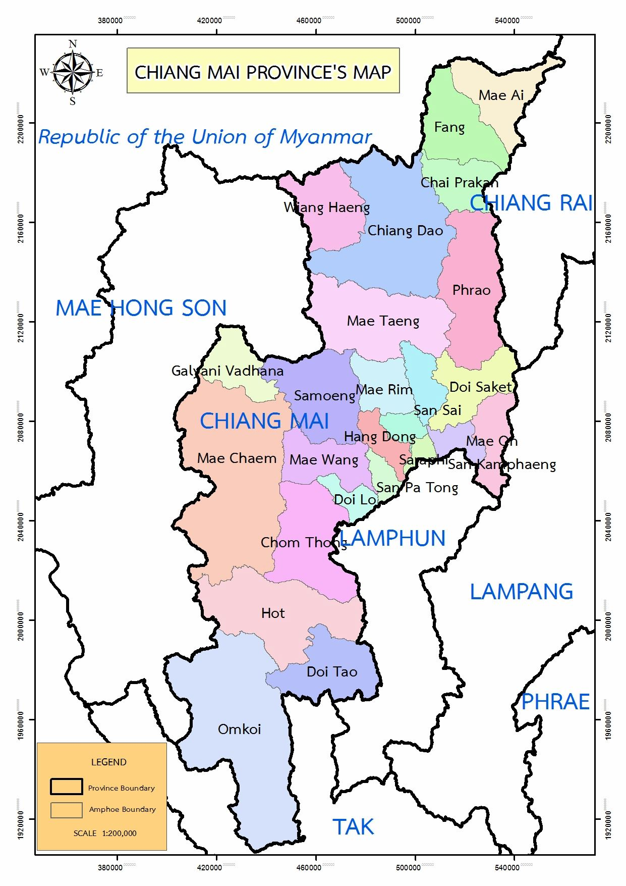 Large Chiang Mai Region Maps for Free Download and Print High