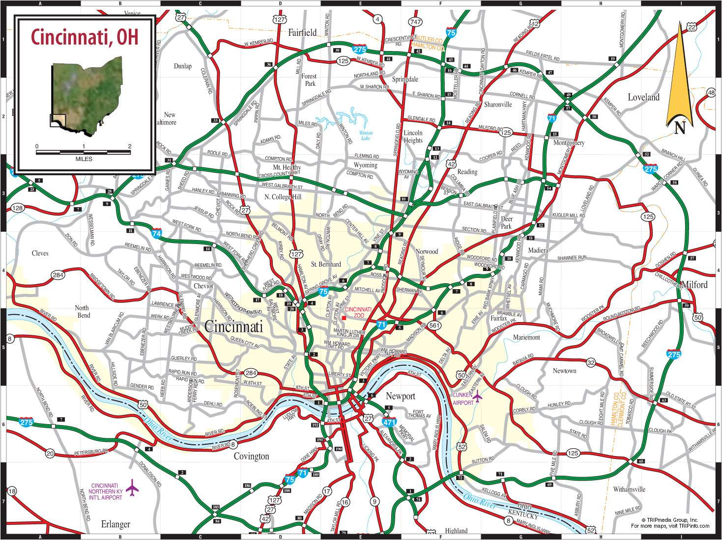 Large Cincinnati Maps for Free Download and Print HighResolution
