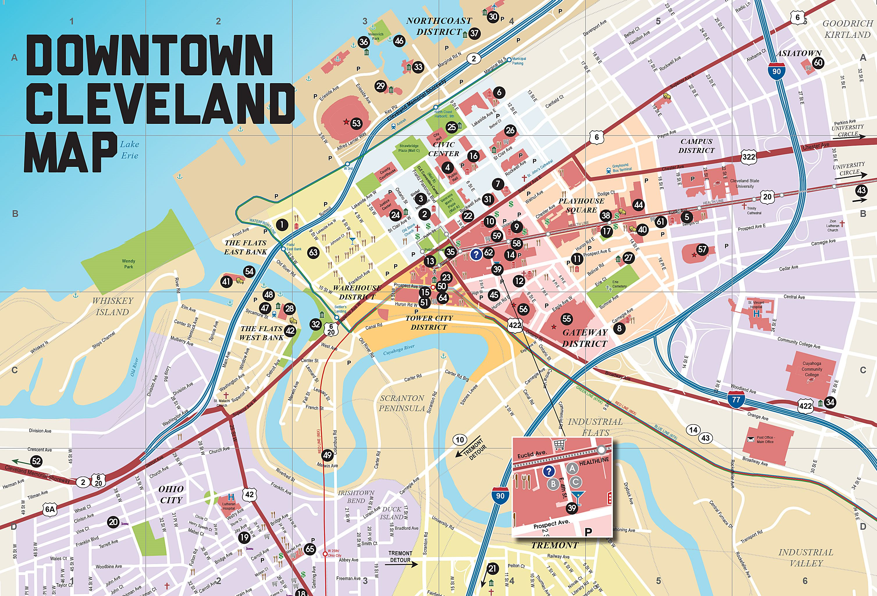 Map Of Downtown Cleveland Large Cleveland Maps for Free Download and Print | High Resolution