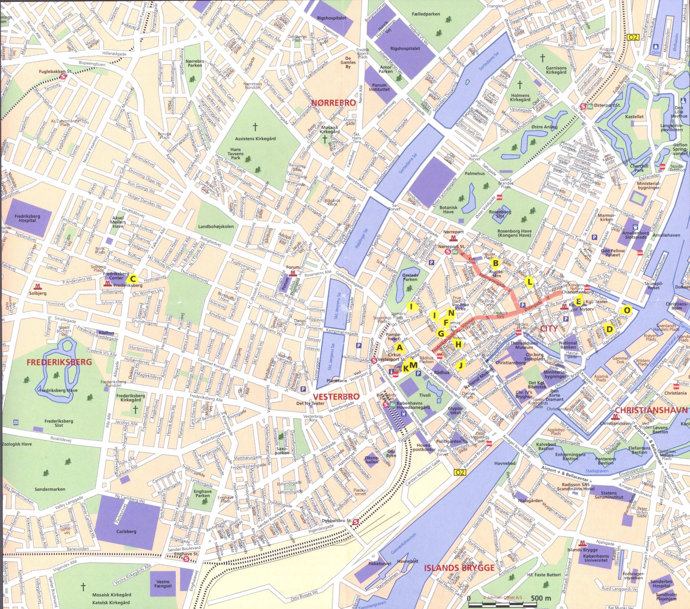 Large Copenhagen Maps for Free Download – Copenhagen Tourist Attractions Map