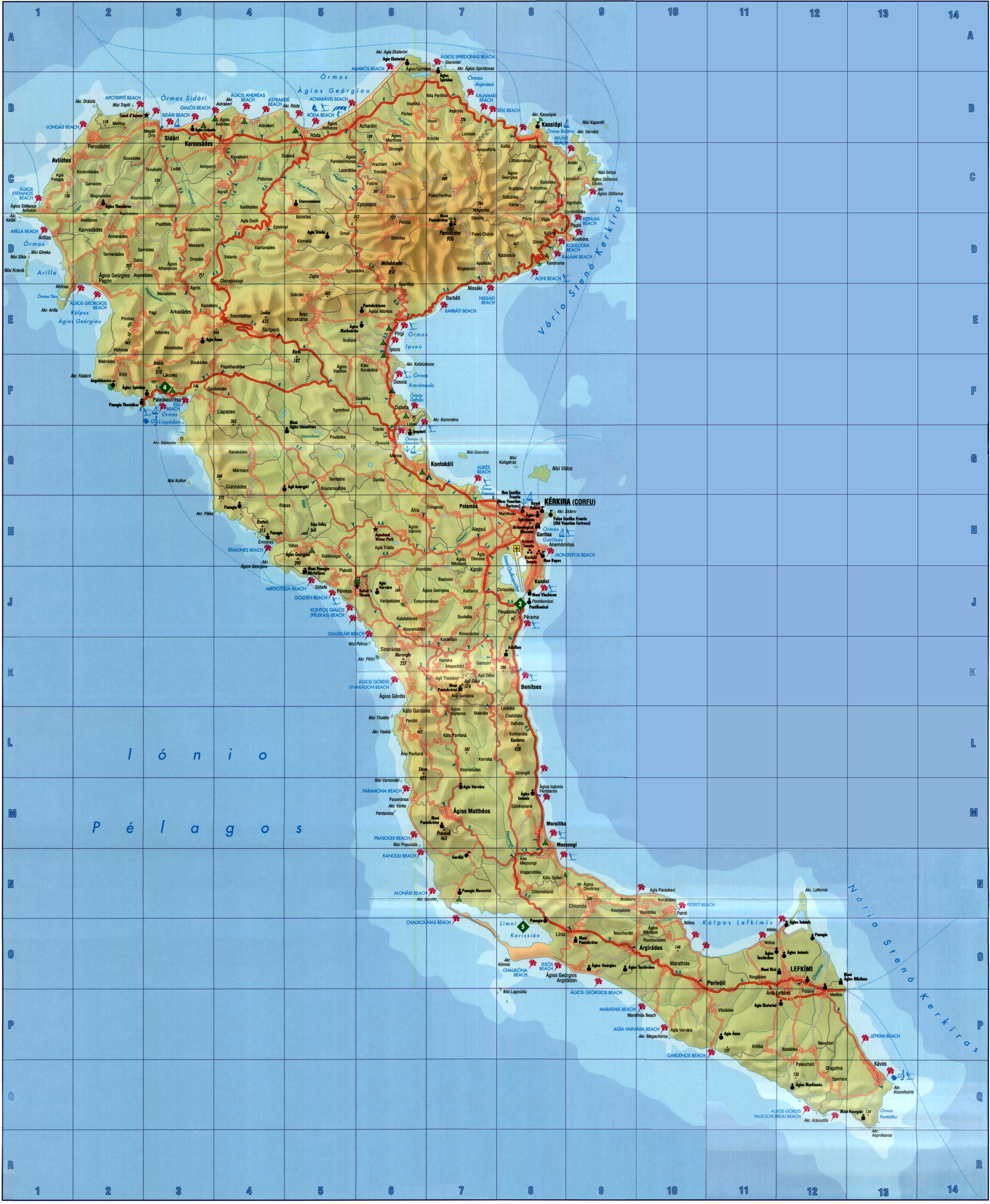Large Corfu Maps for Free Download and Print | High-Resolution and ...