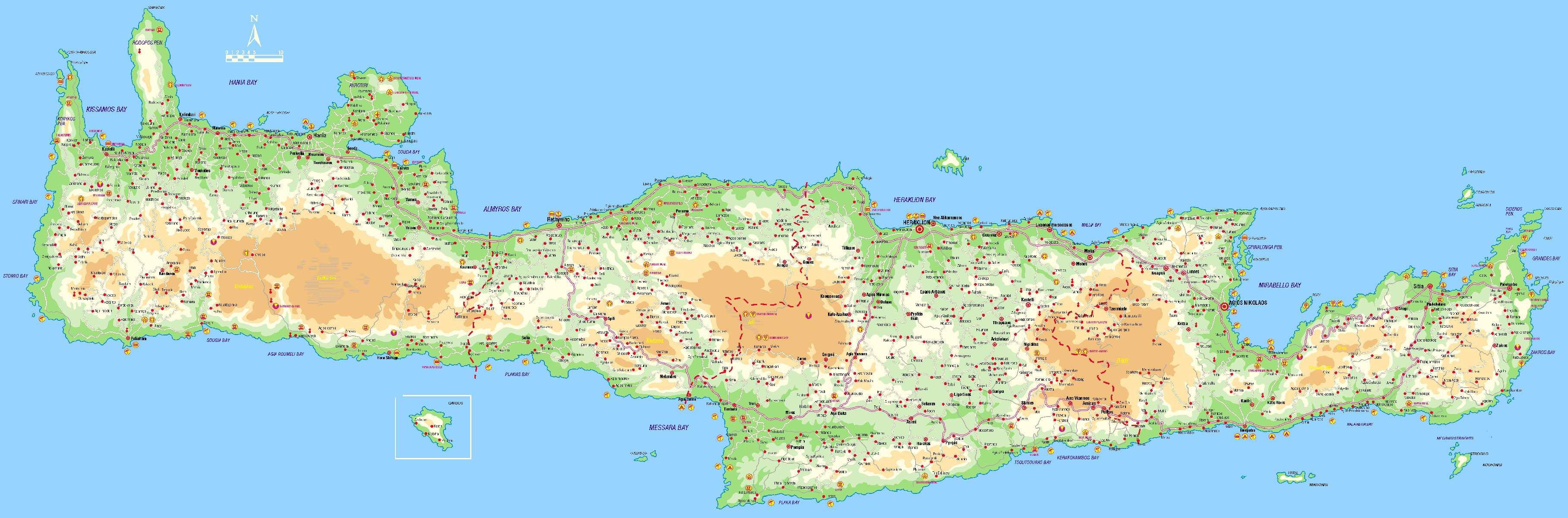 landkarte von kreta Stadtplan von Kreta | Detaillierte gedruckte Karten von Kreta  landkarte von kreta