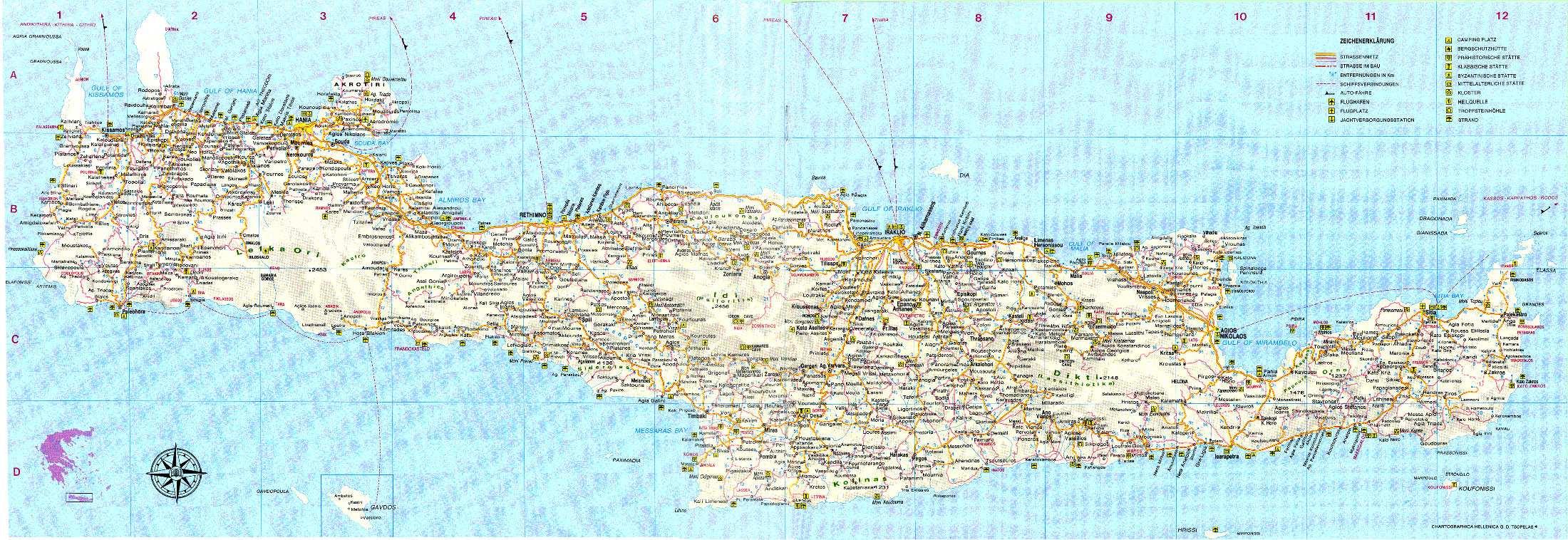 Carte Routiere Crete En Francais.Cartes De Crete Cartes Typographiques Detaillees De Crete Grece