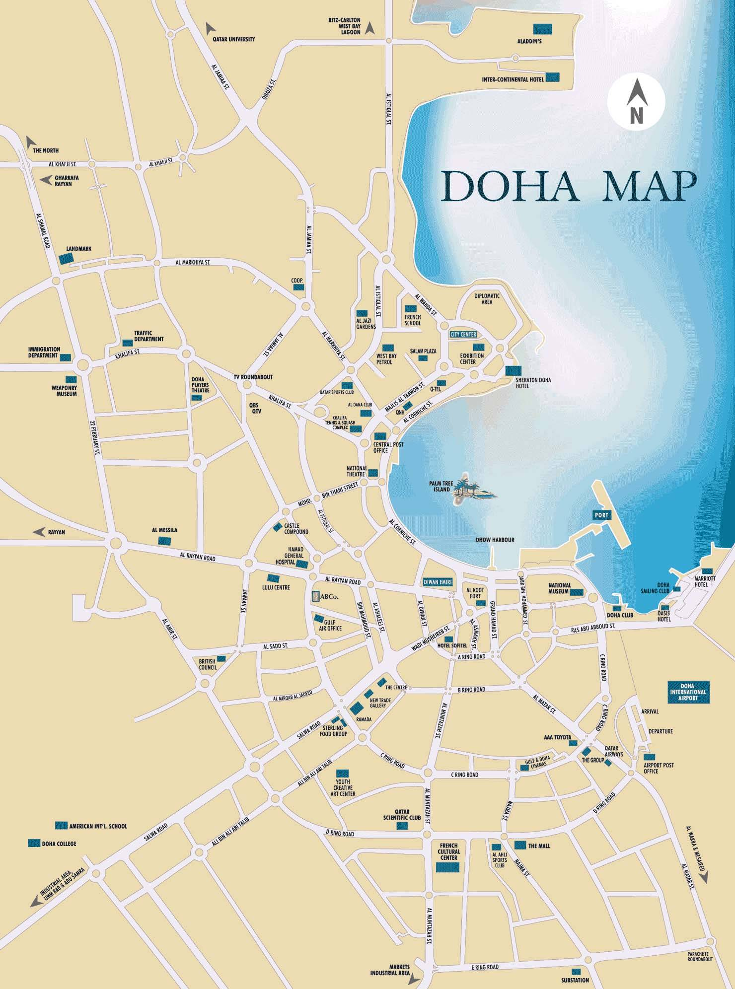Large doha maps for free download and print high resolution and large map of doha 1 gumiabroncs Image collections