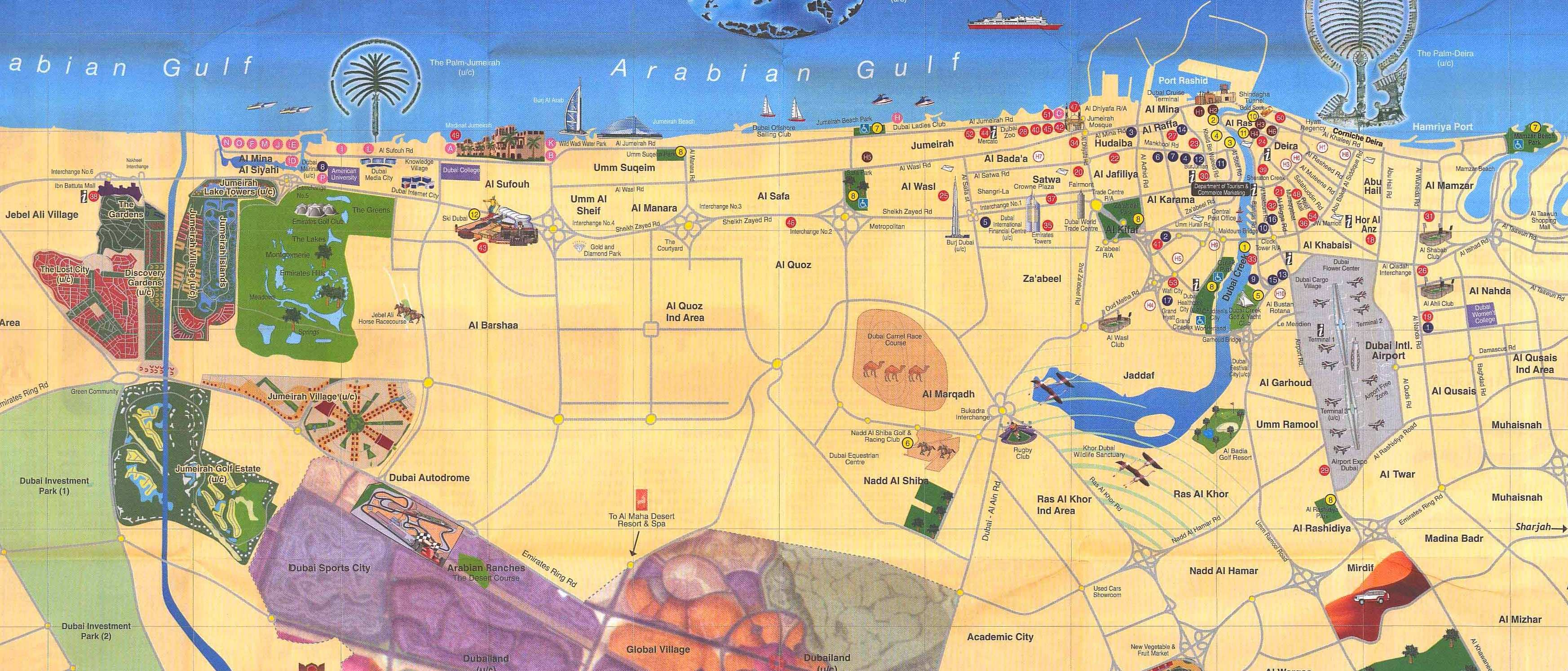 Landmarks on Dubai Map
