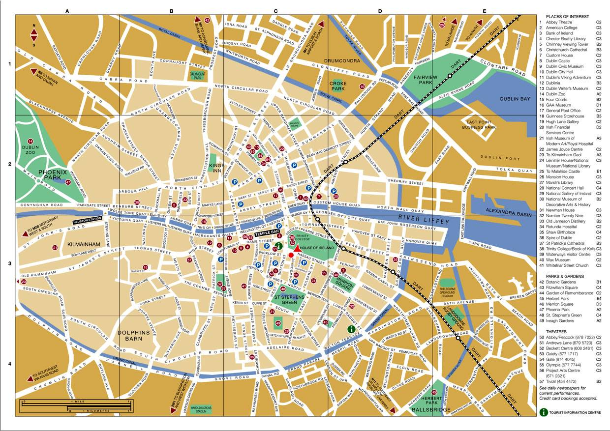 Dublin city centre street map irishtourist. Com.