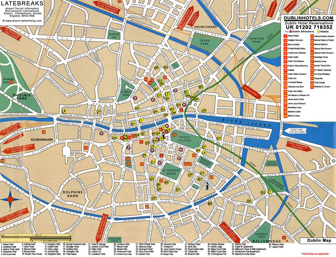 Dublin printable tourist map | sygic travel.