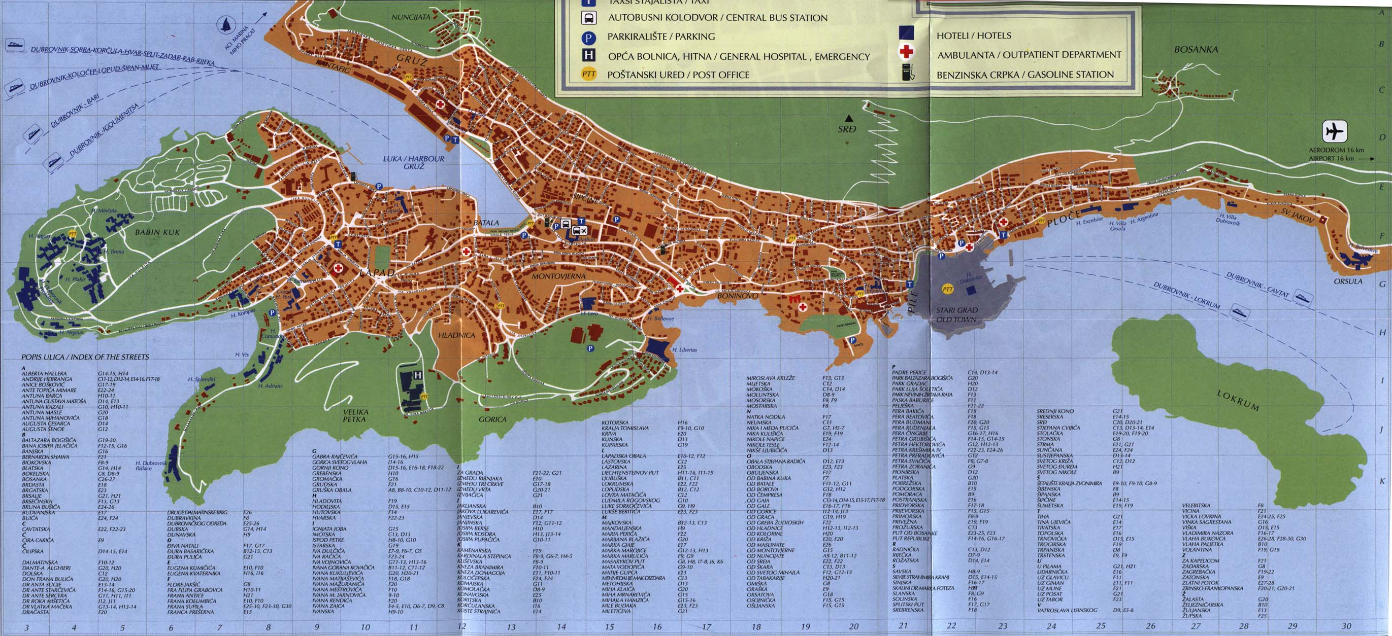 Large Dubrovnik Maps for Free Download – Croatia Tourist Map