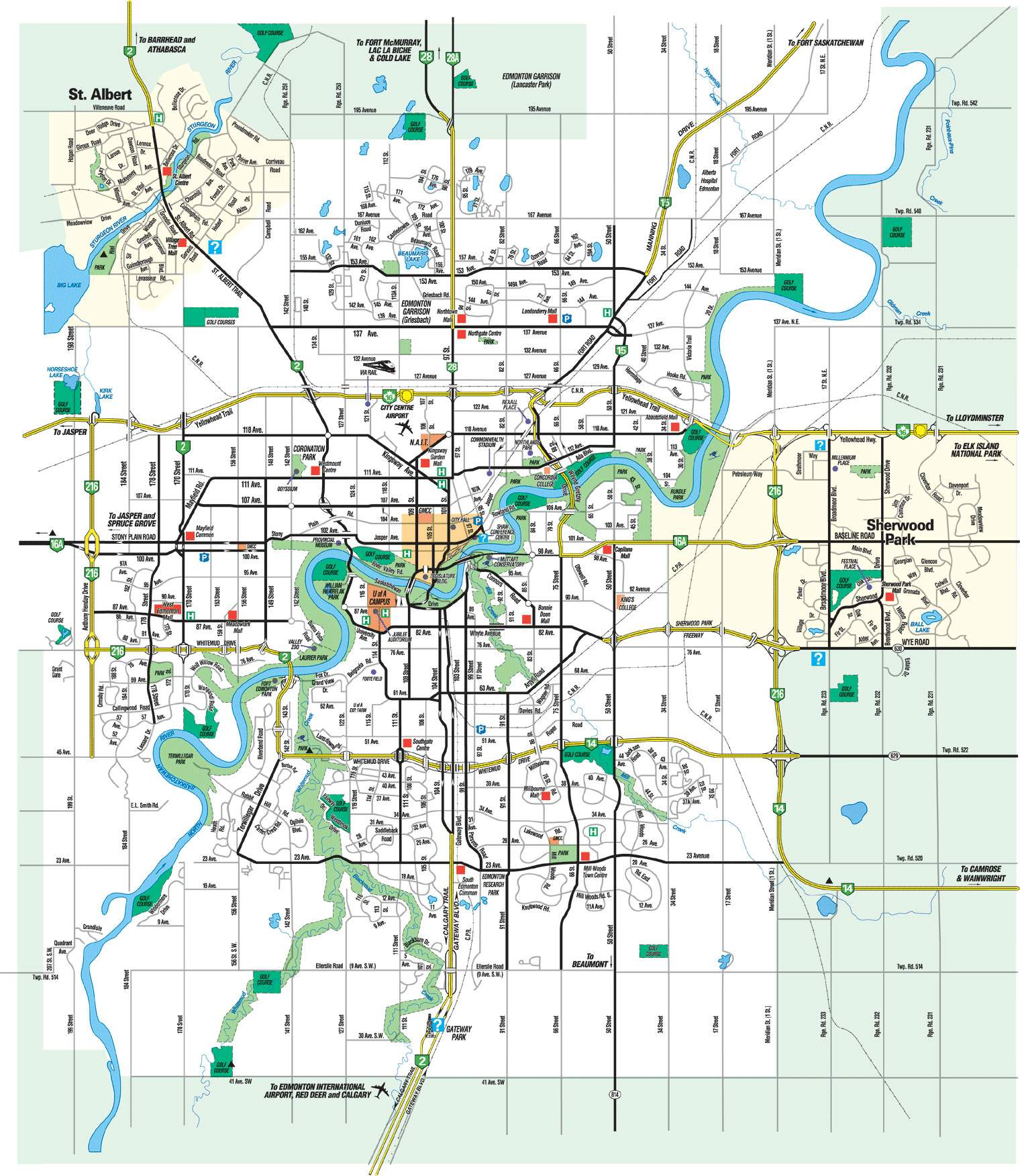 Map Of Edmonton Canada Large Edmonton Maps for Free Download and Print | High Resolution