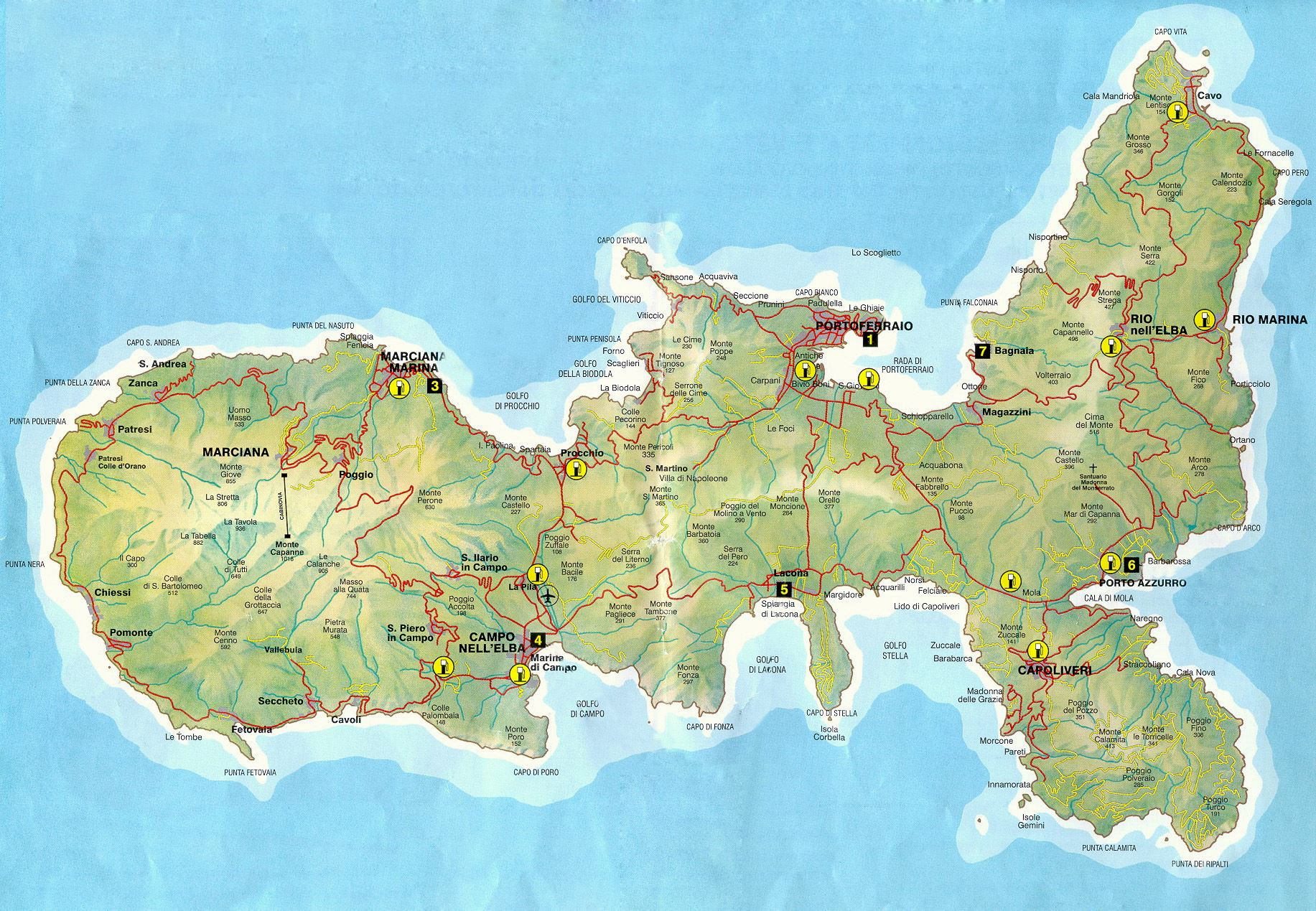 Large Elba Island Maps for Free Download and Print HighResolution