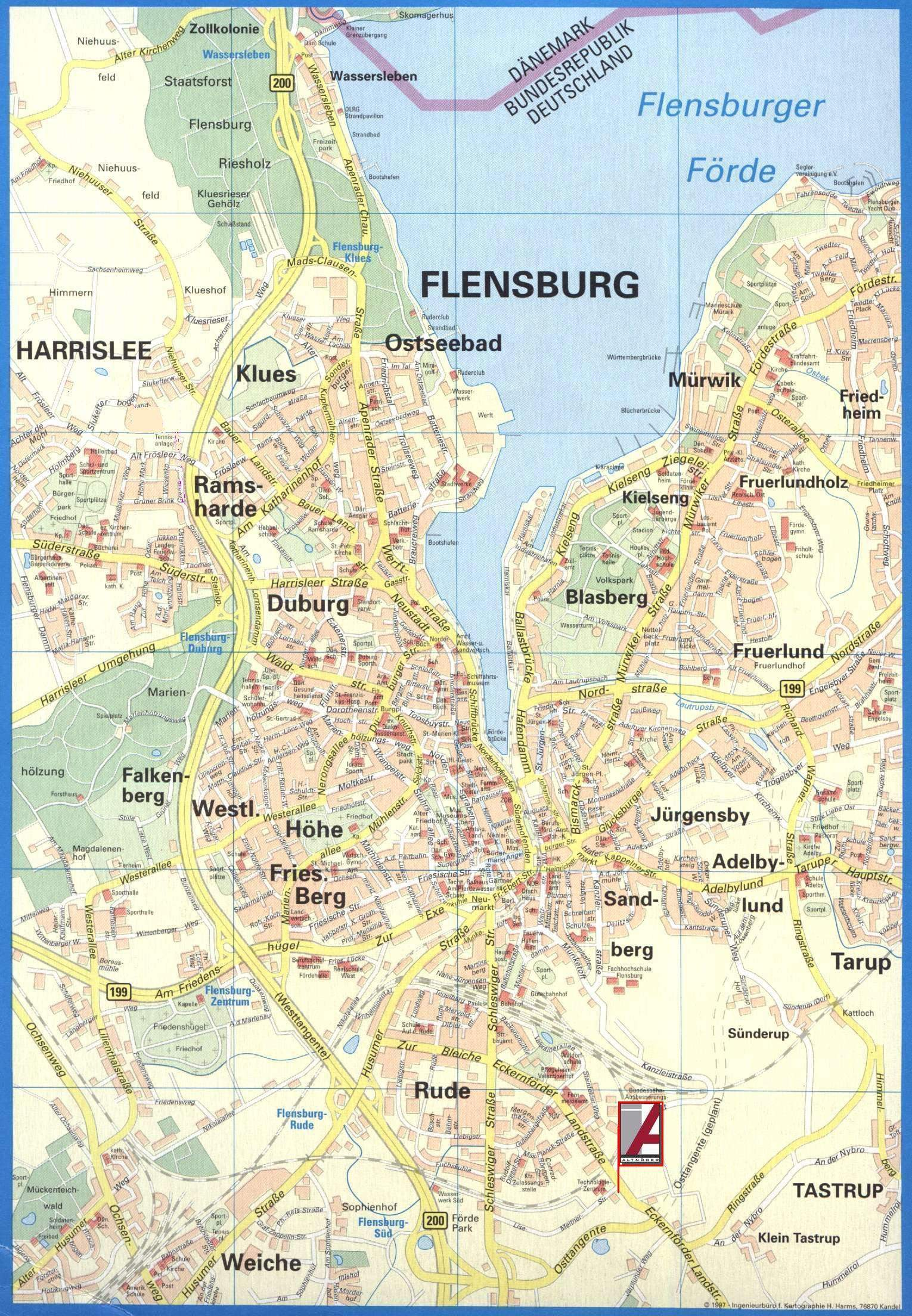 Large Flensburg Maps for Free Download and Print HighResolution