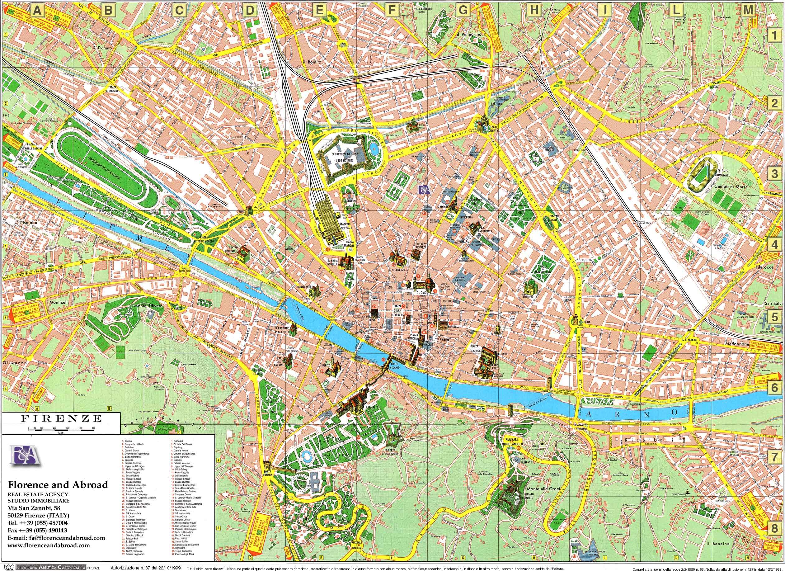 Large Florence Maps for Free Download – Florence Italy Tourist Map