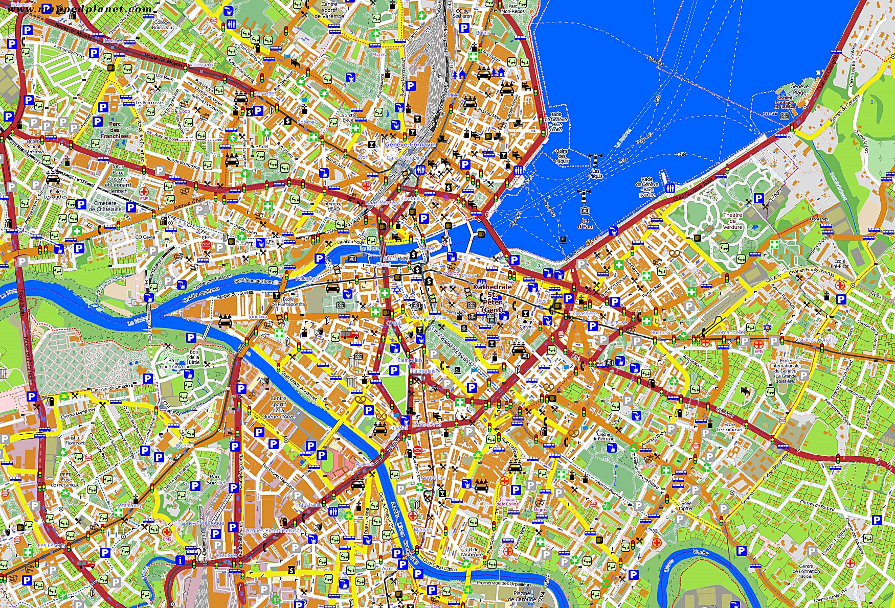 Large Geneva Maps For Free Download And Print High Resolution