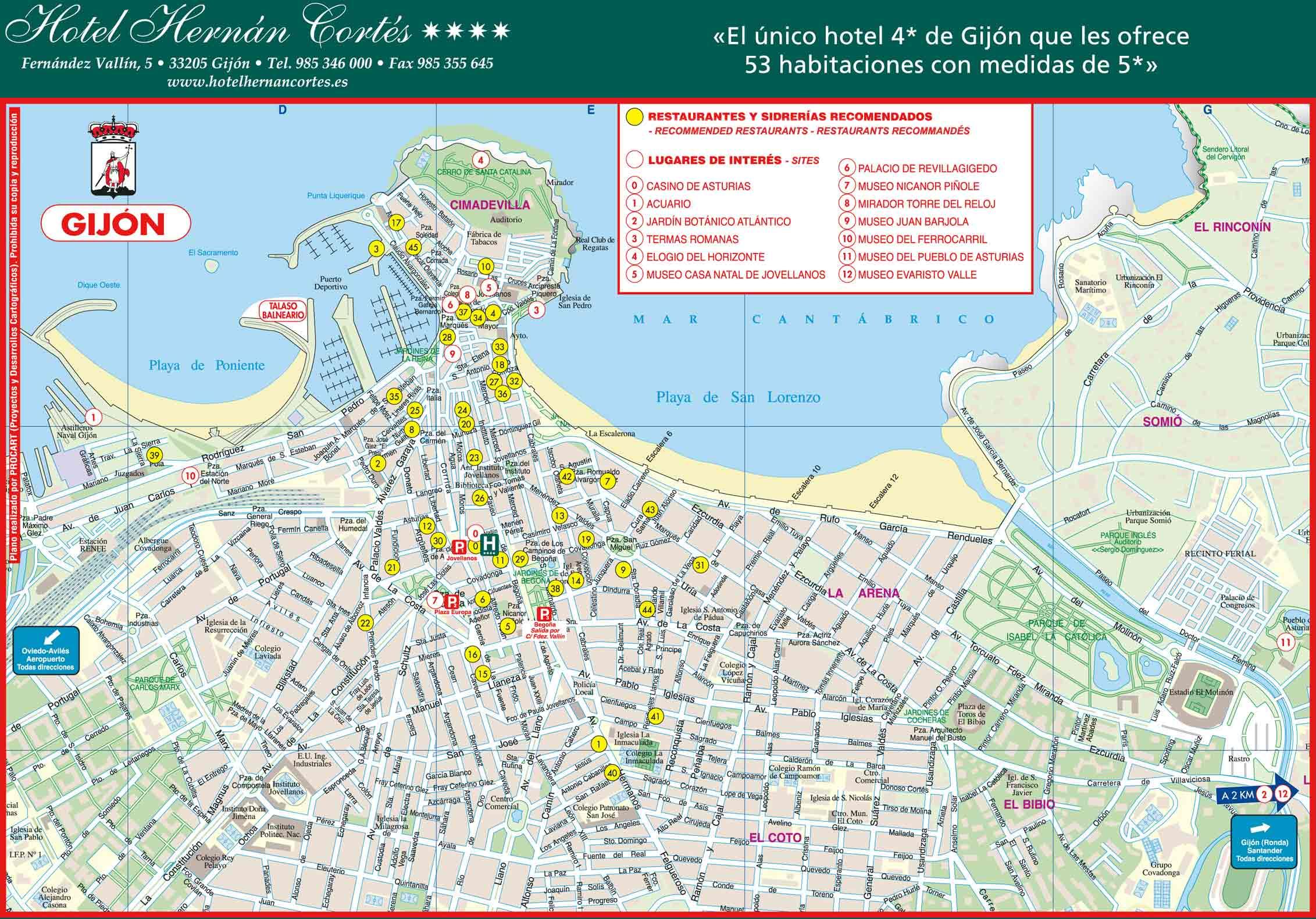 mapa de espanha lloret del mar Gijón   plan de la ciudad | Mapas imprimidos de Gijón, España con  mapa de espanha lloret del mar