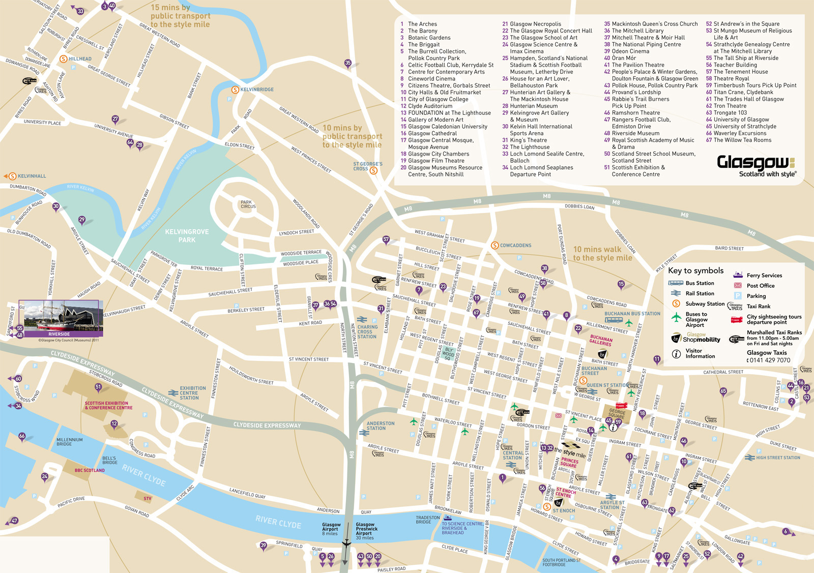 Tourist Map Glasgow Large Glasgow Maps for Free Download and Print | High Resolution