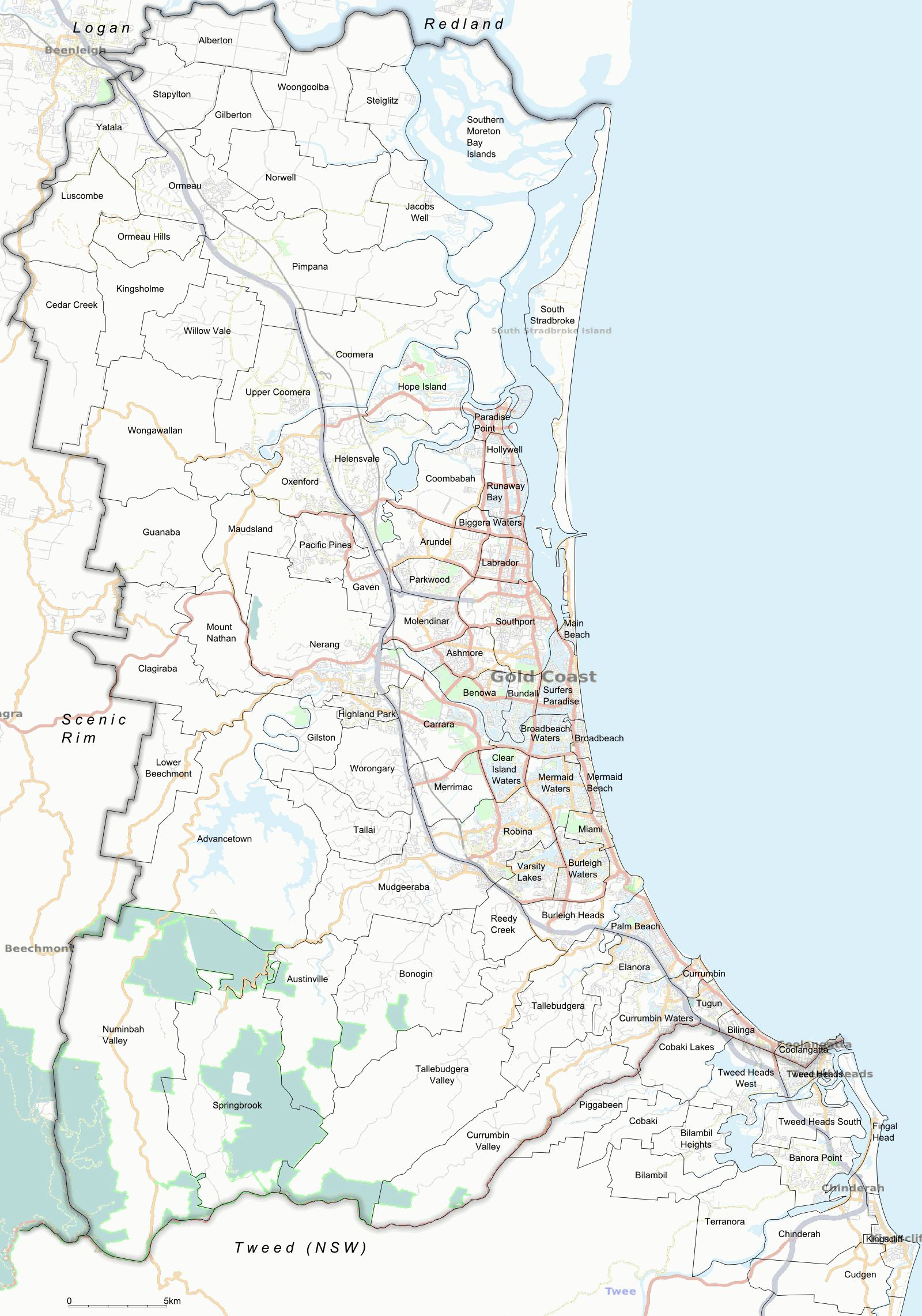 Large Gold Coast Maps for Free Download and Print | High-Resolution ...