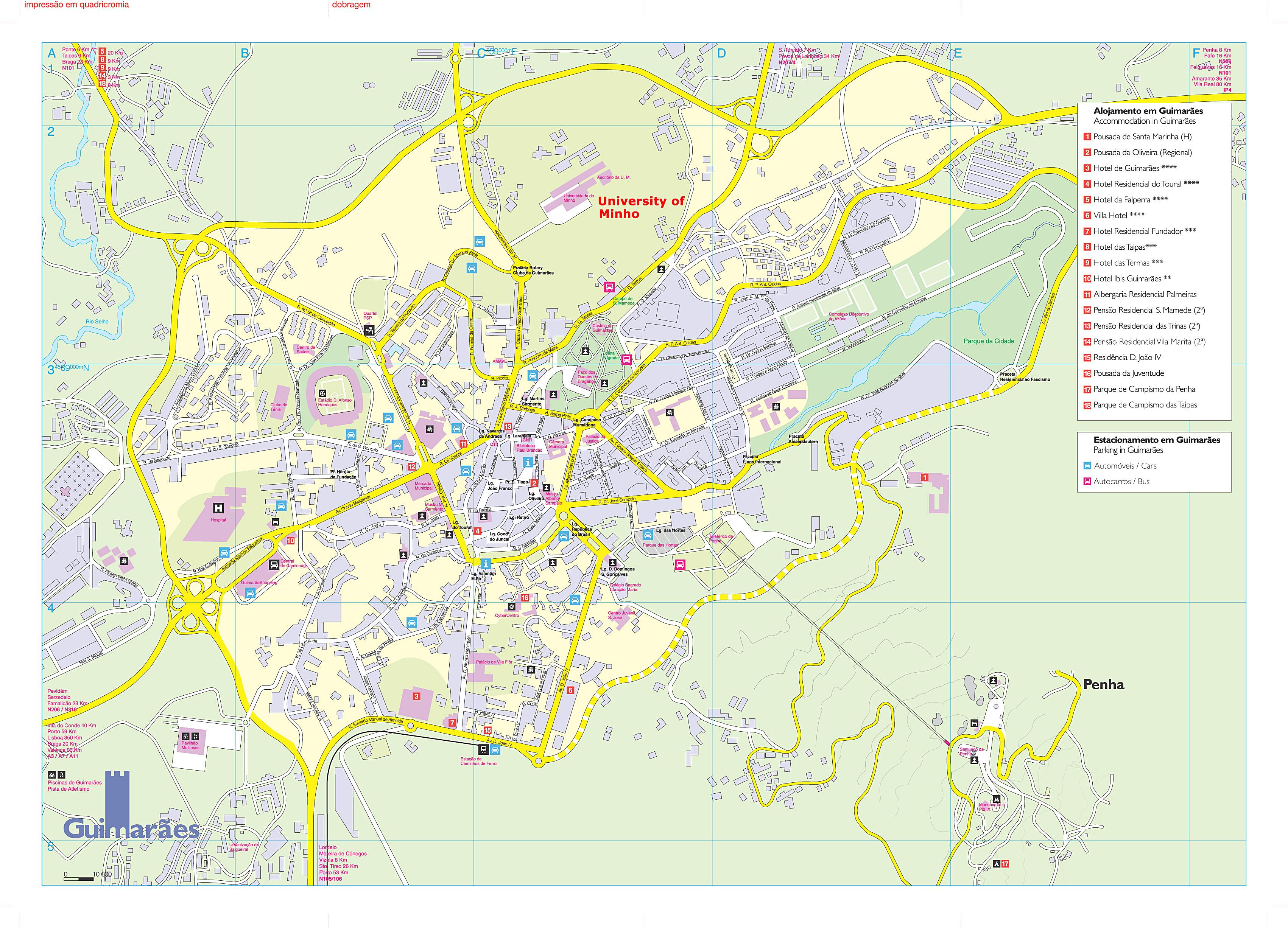 guimarães mapa Large Guimaraes Maps for Free Download and Print | High Resolution  guimarães mapa