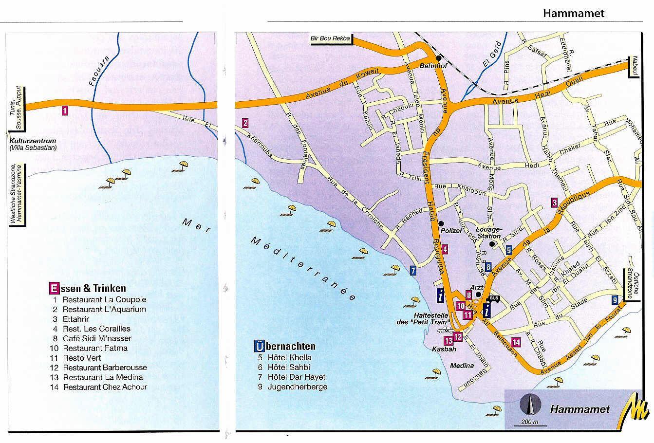 Carte Tunisie Hammamet.Cartes De Hammamet Cartes Typographiques Detaillees De