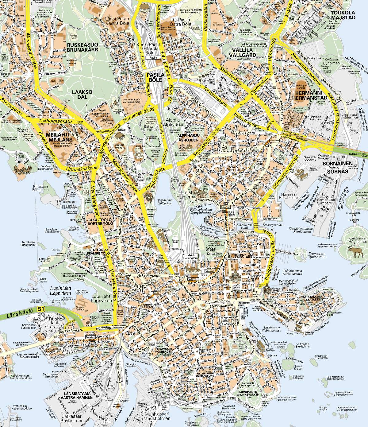 Large Helsinki Maps for Free Download and Print HighResolution