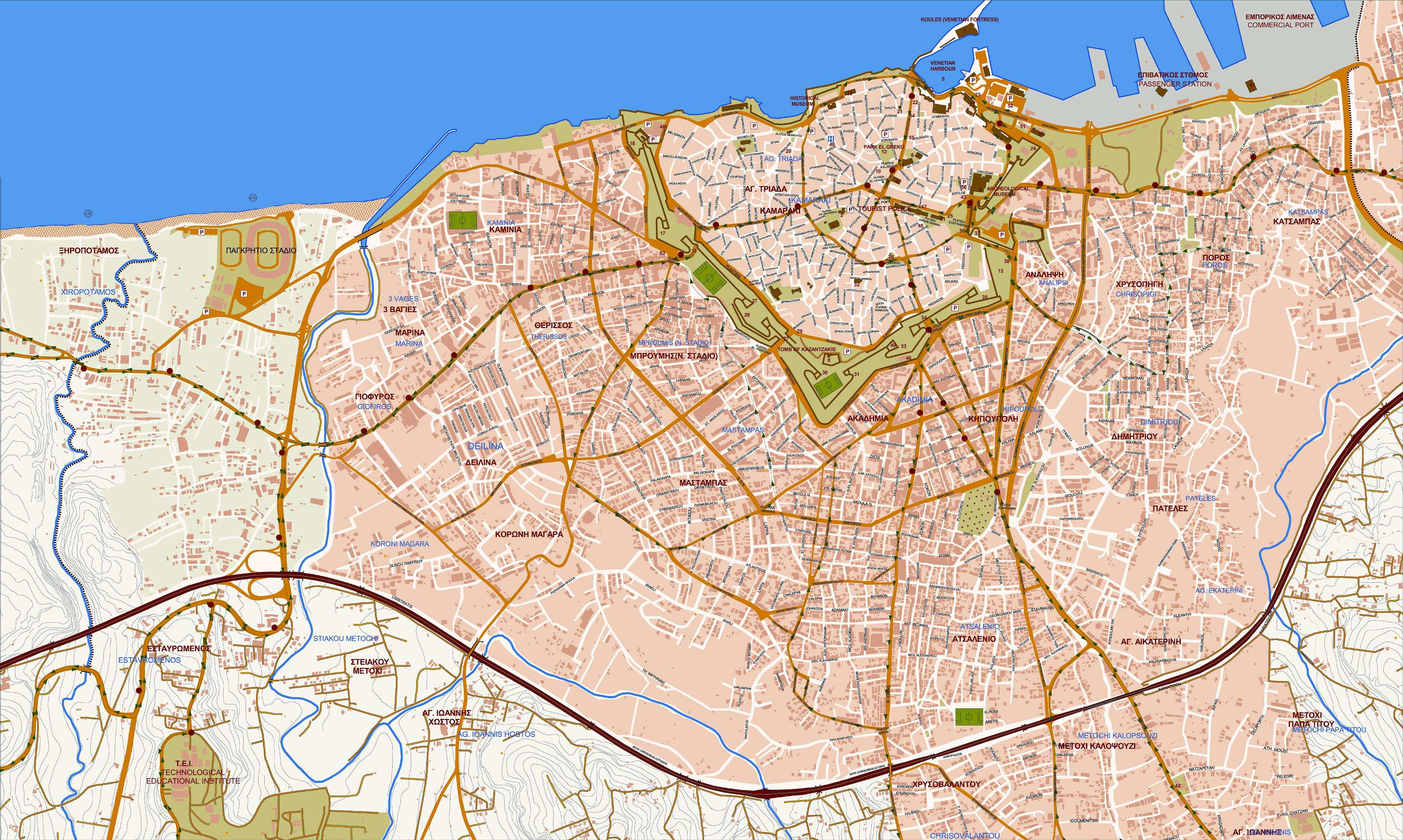 Large Heraklion Maps For Free Download And Print High Resolution