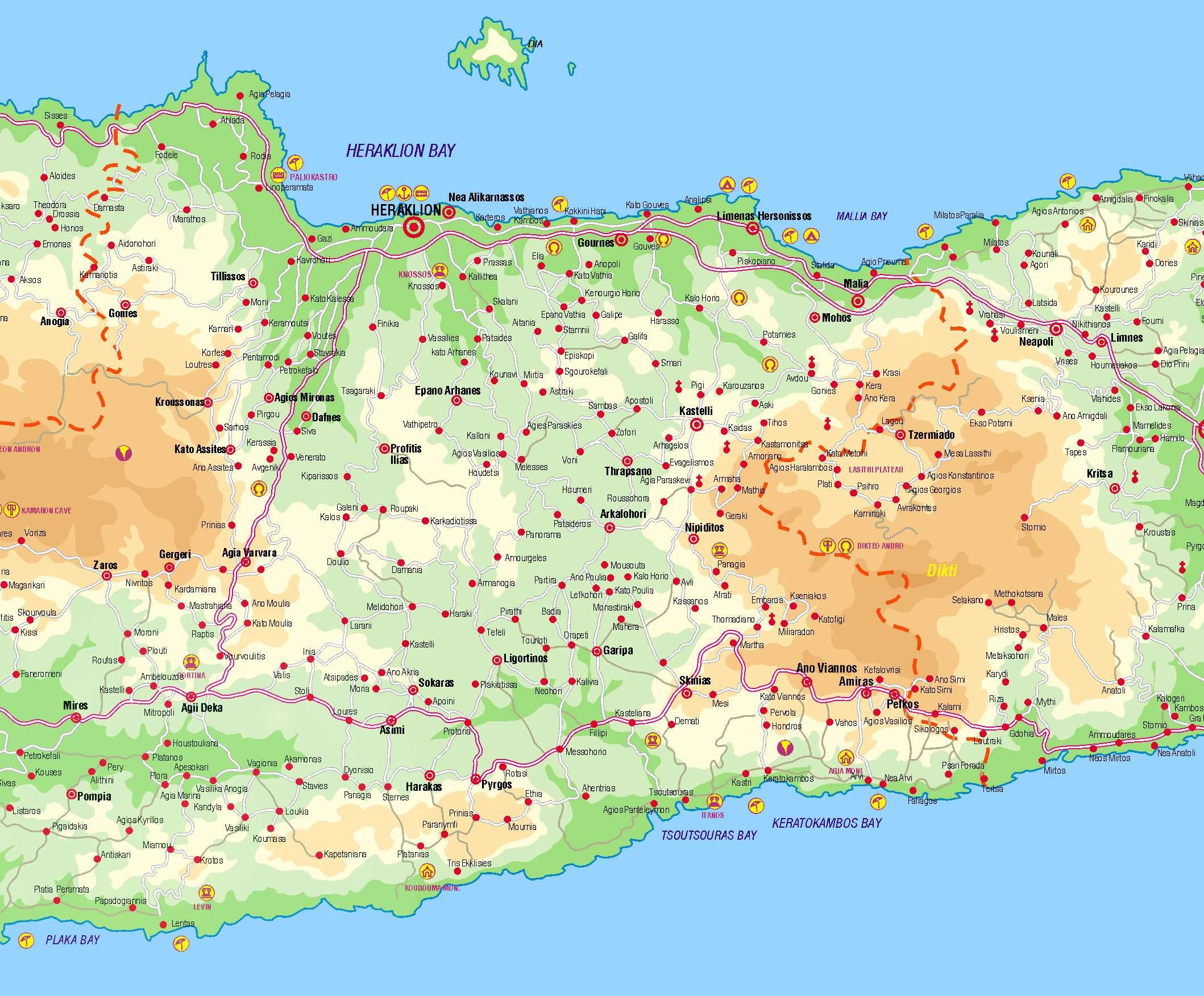 Cartes de Héraklion | Cartes typographiques détaillées de