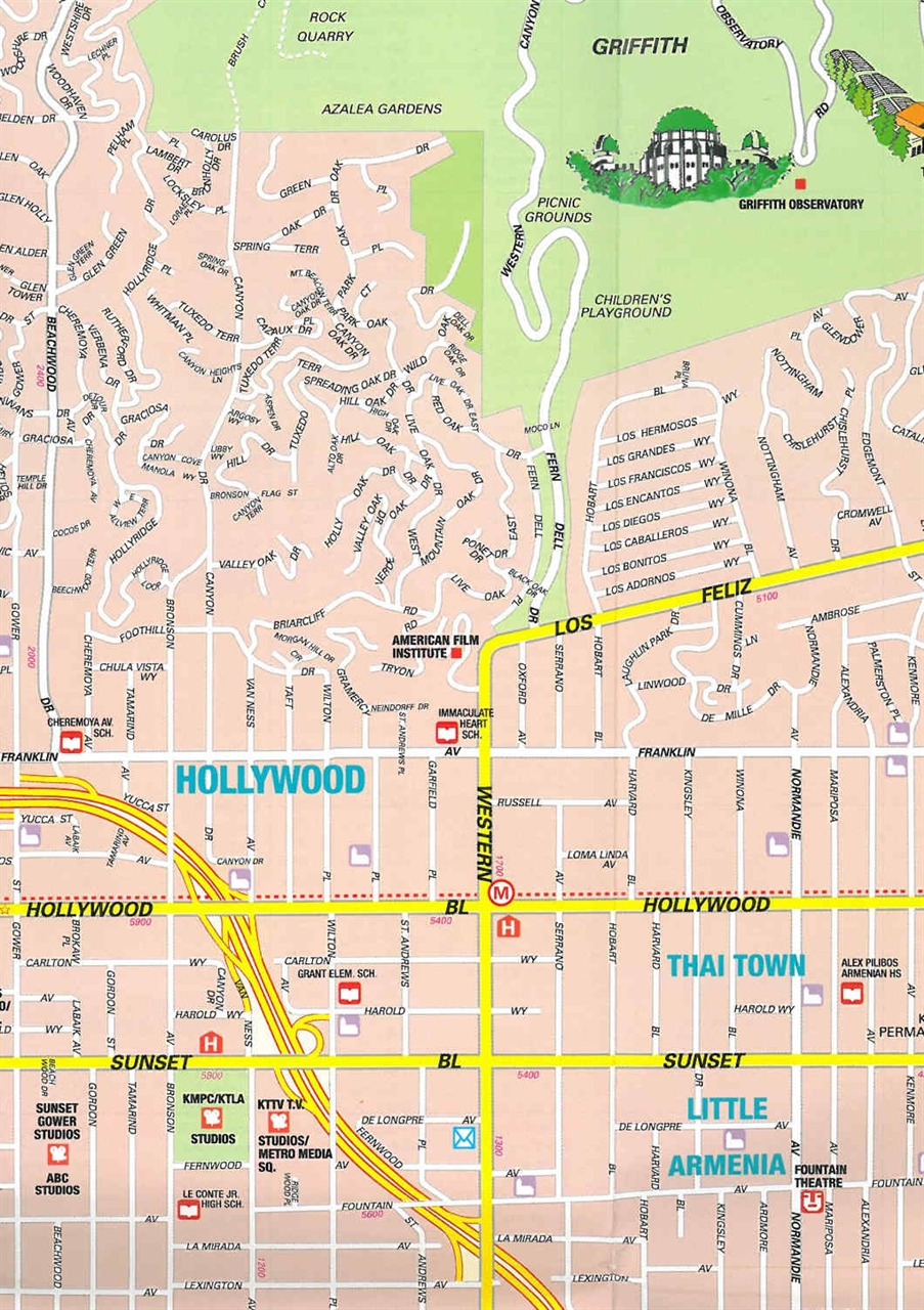 Map Of Hollywood California Large Hollywood, CA Maps for Free Download and Print | High  Map Of Hollywood California
