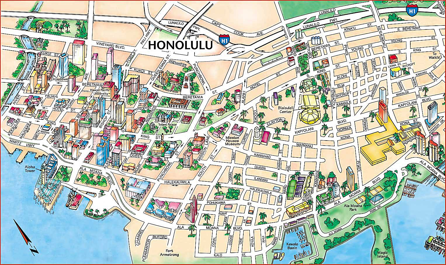 large honolulu maps for free and print high resolution