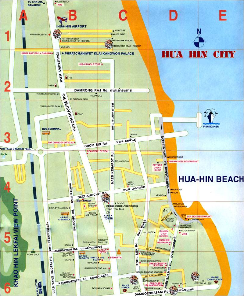 Large Hua Hin Maps For Free Download And Print Highresolution: Hua Hin Beach Thailand Map At Infoasik.co