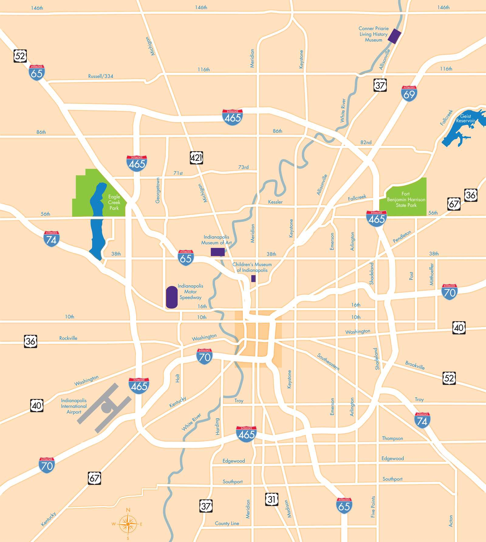 Large Indianapolis Maps for Free Download and Print High