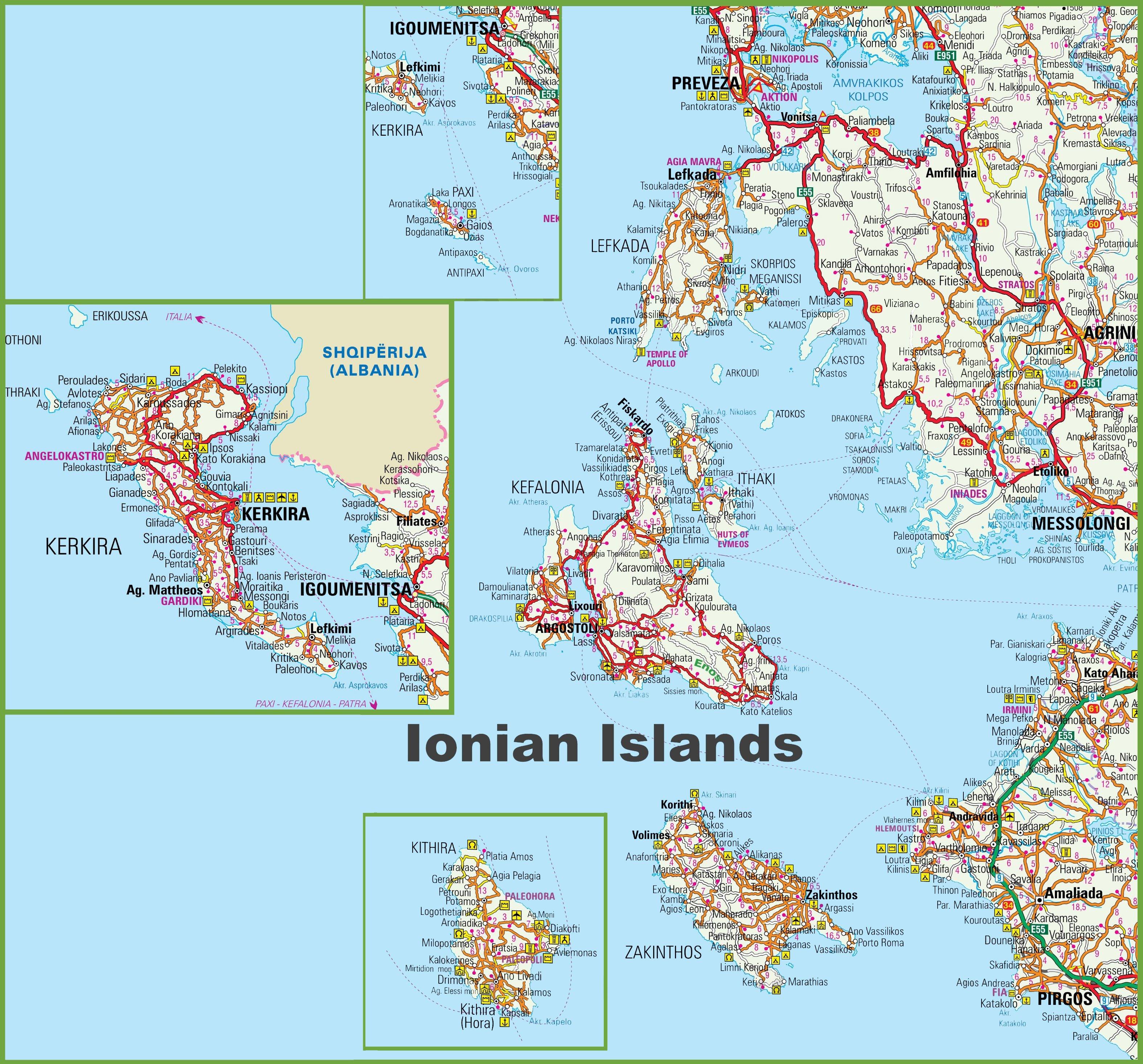 Podrobnye Karty Ionicheskih Ostrovov Detalnye Pechatnye Karty
