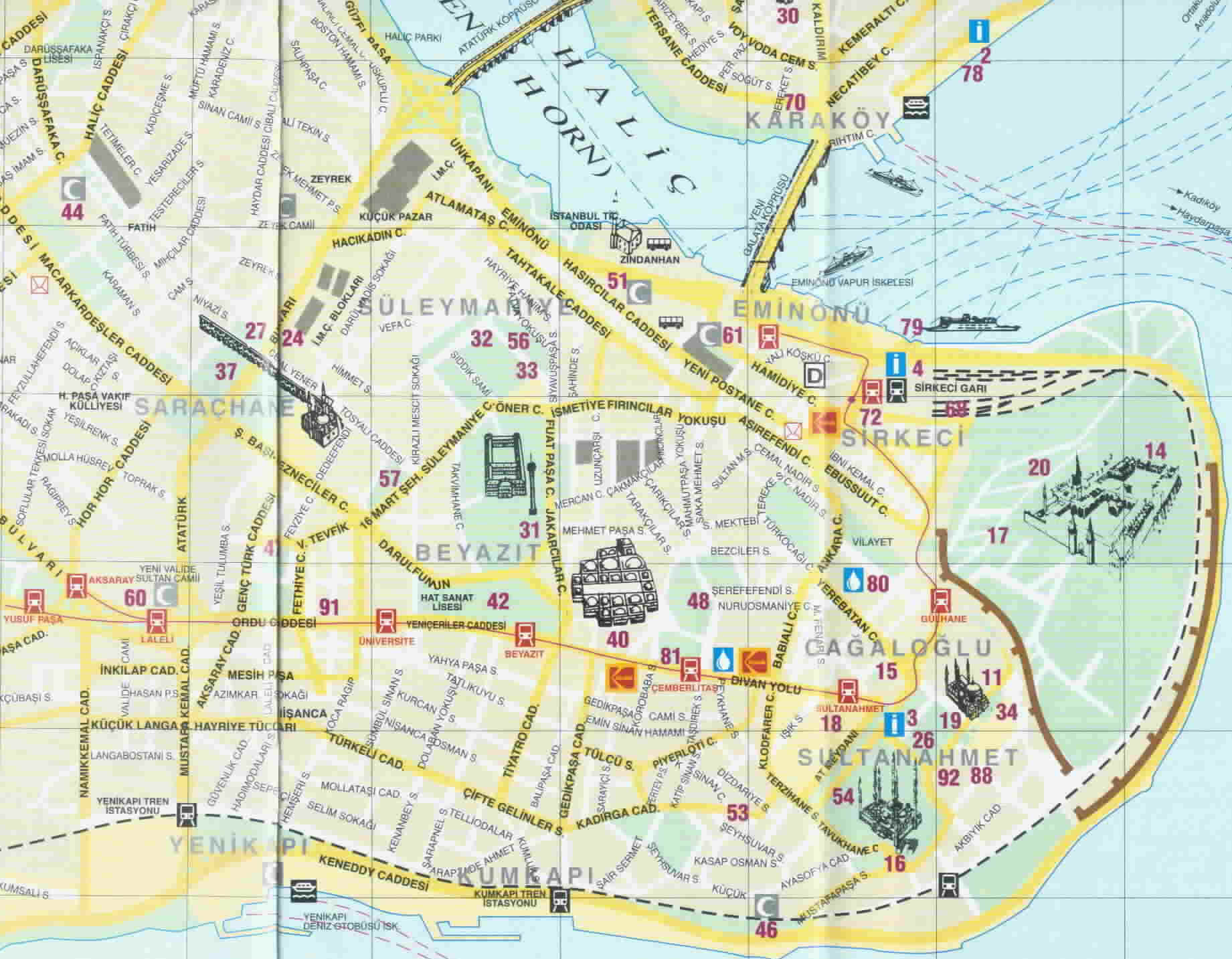 Large Istanbul Maps for Free Download – Tourist Attractions Map In Turkey