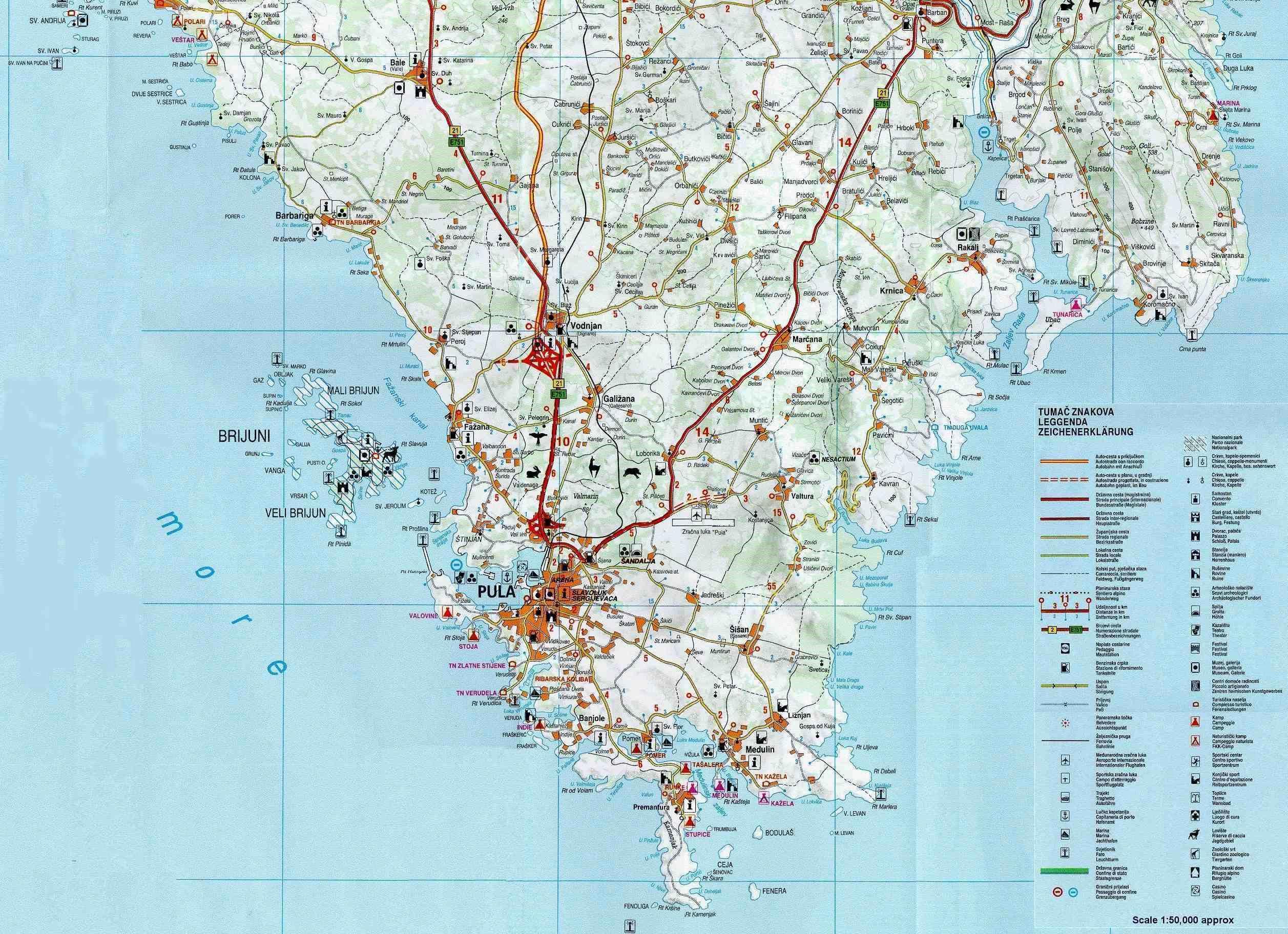 Karte Istrien Kroatien.Stadtplan Von Istrien Detaillierte Gedruckte Karten Von