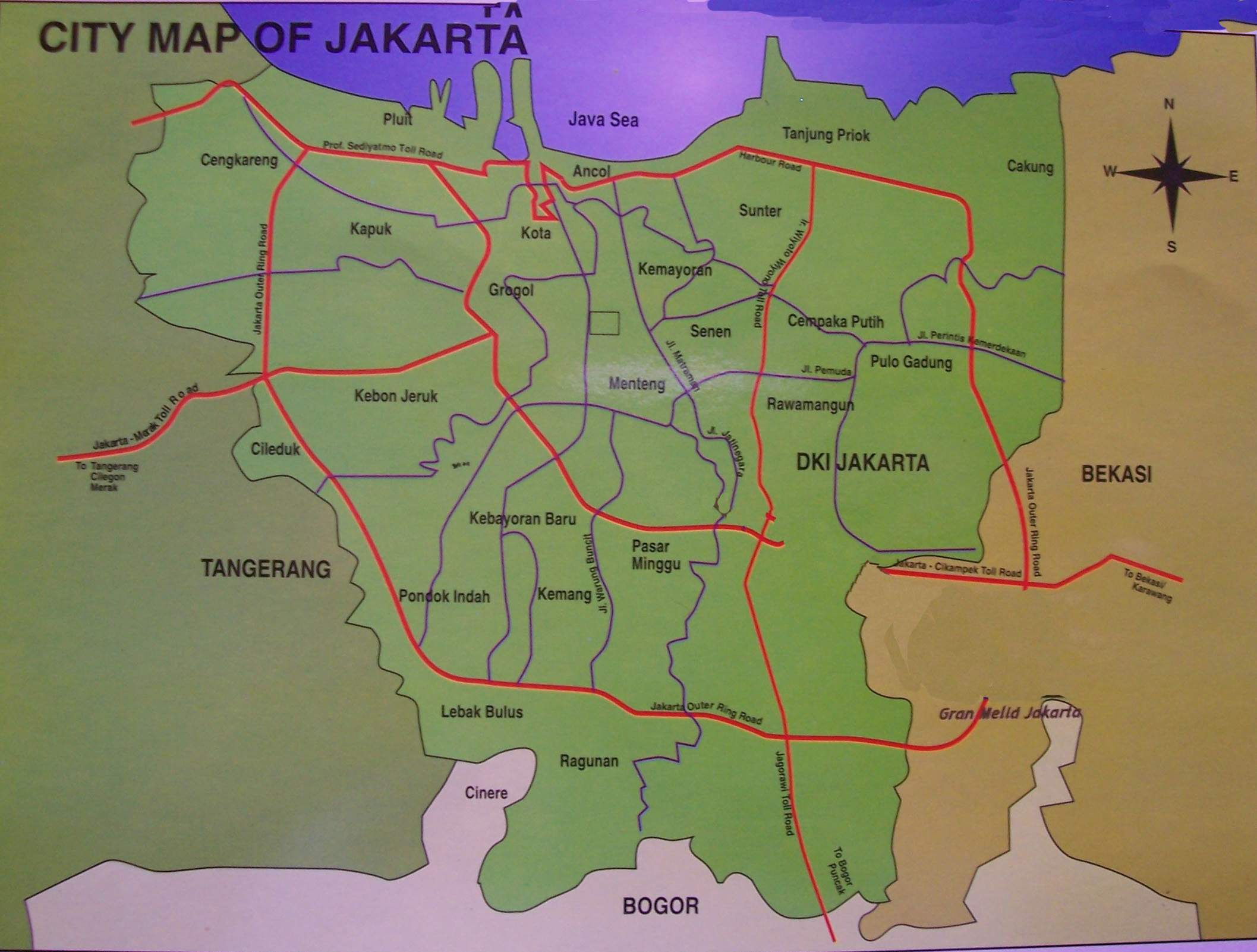 Large Jakarta Maps for Free Download and Print | High