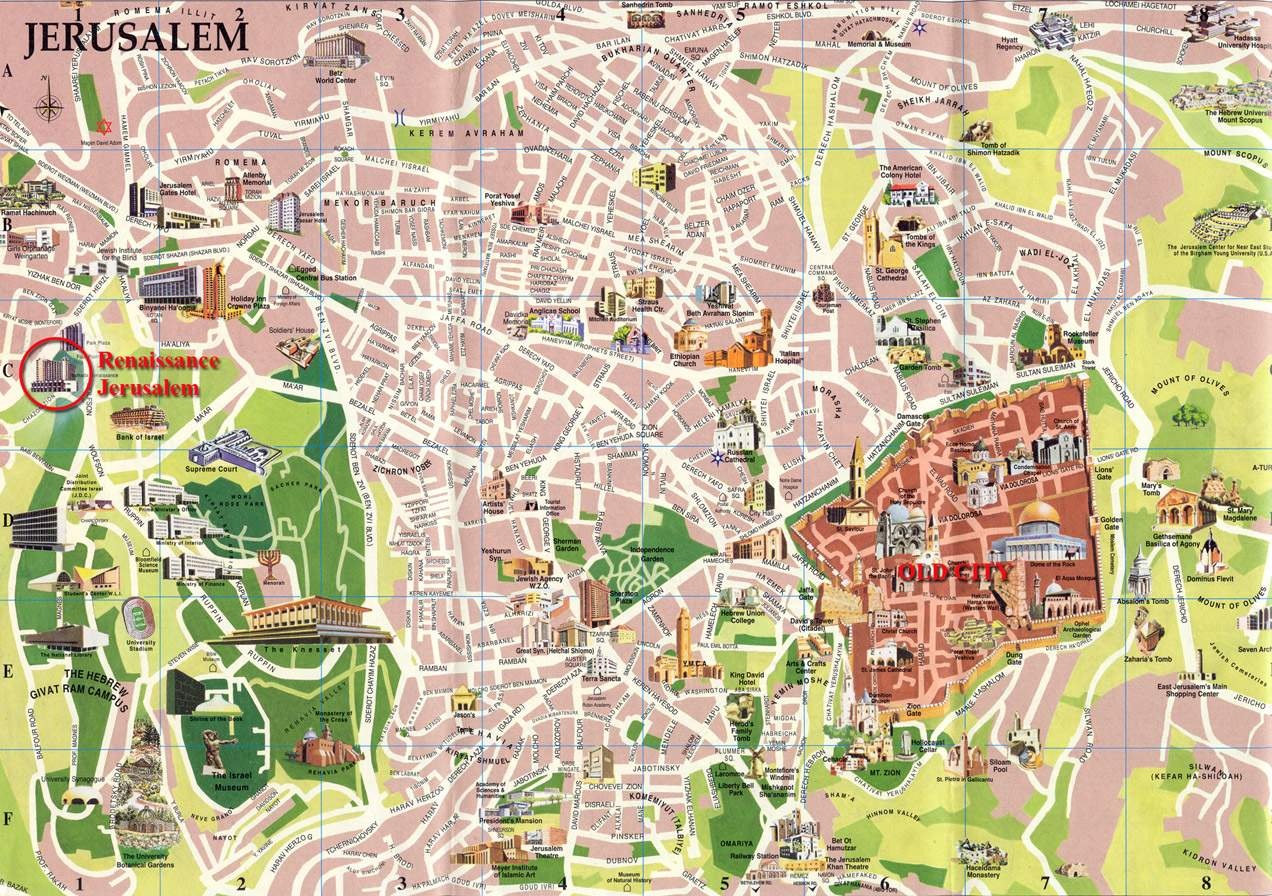 Map Jerusalem – Tourist Attractions Map In Israel