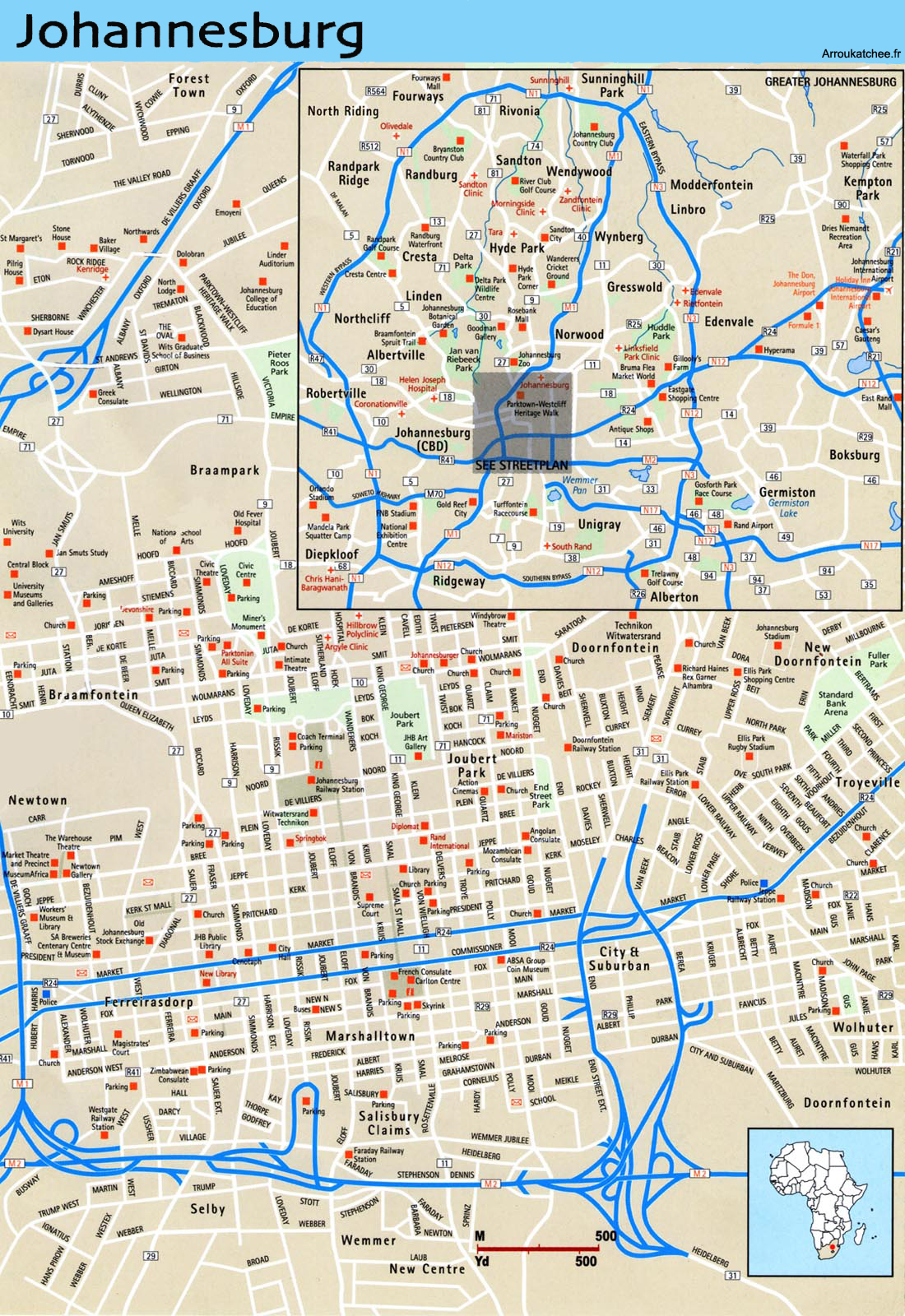 Large Johannesburg Maps for Free Download and Print High
