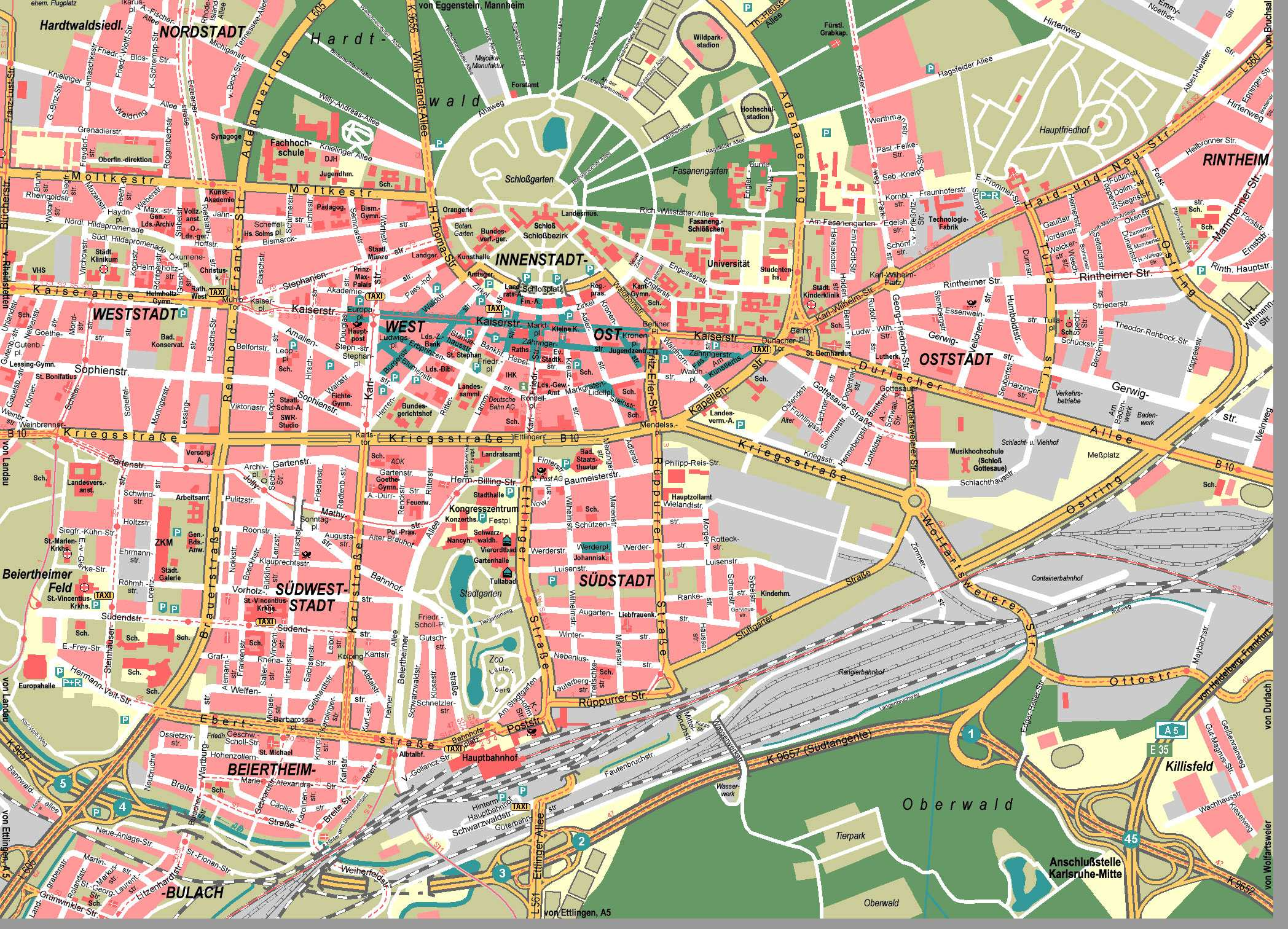 Large Karlsruhe Maps For Free Download And Print HighResolution - Germany map download