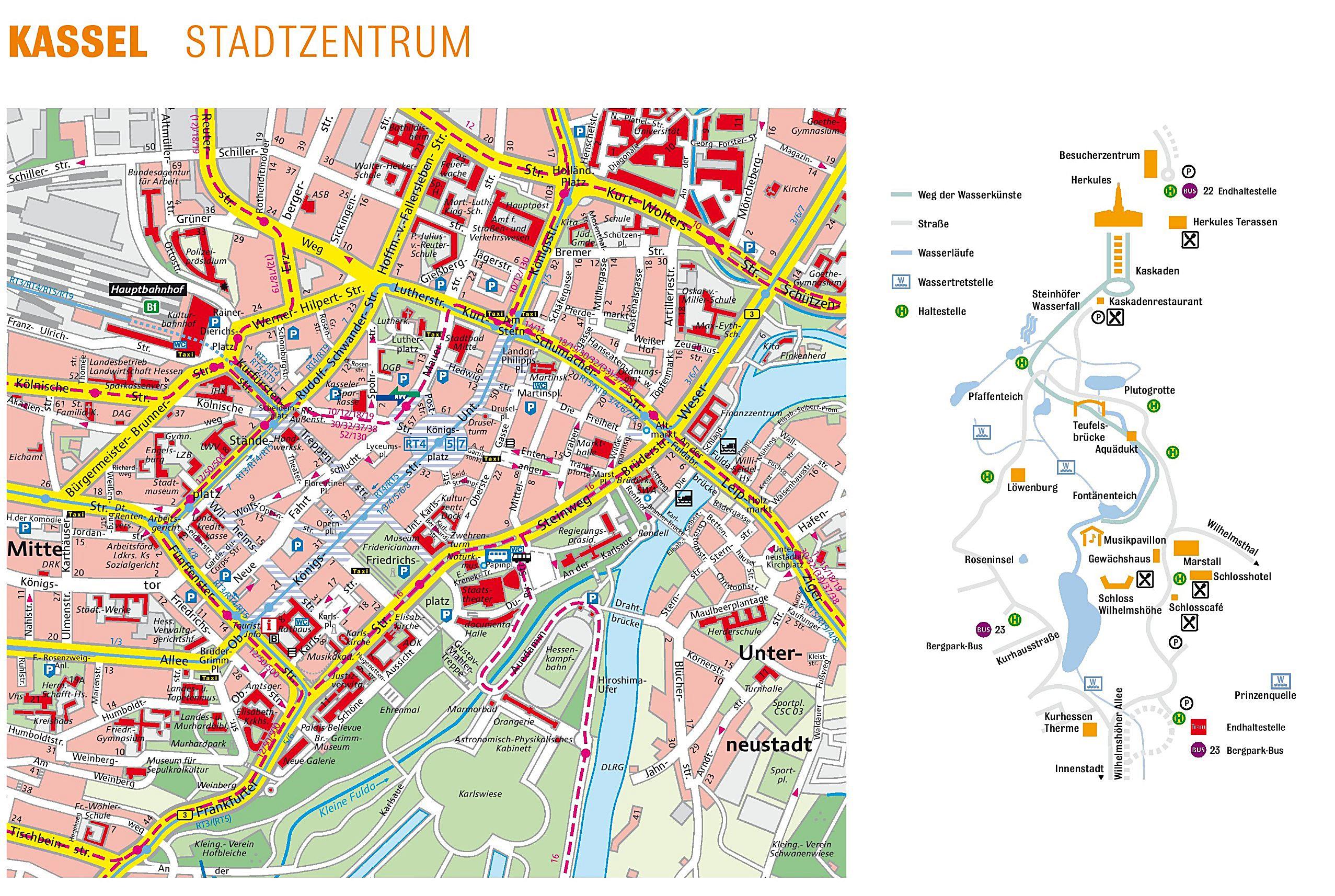 Karte Kassel Und Umgebung.Stadtplan Von Kassel Detaillierte Gedruckte Karten Von Kassel