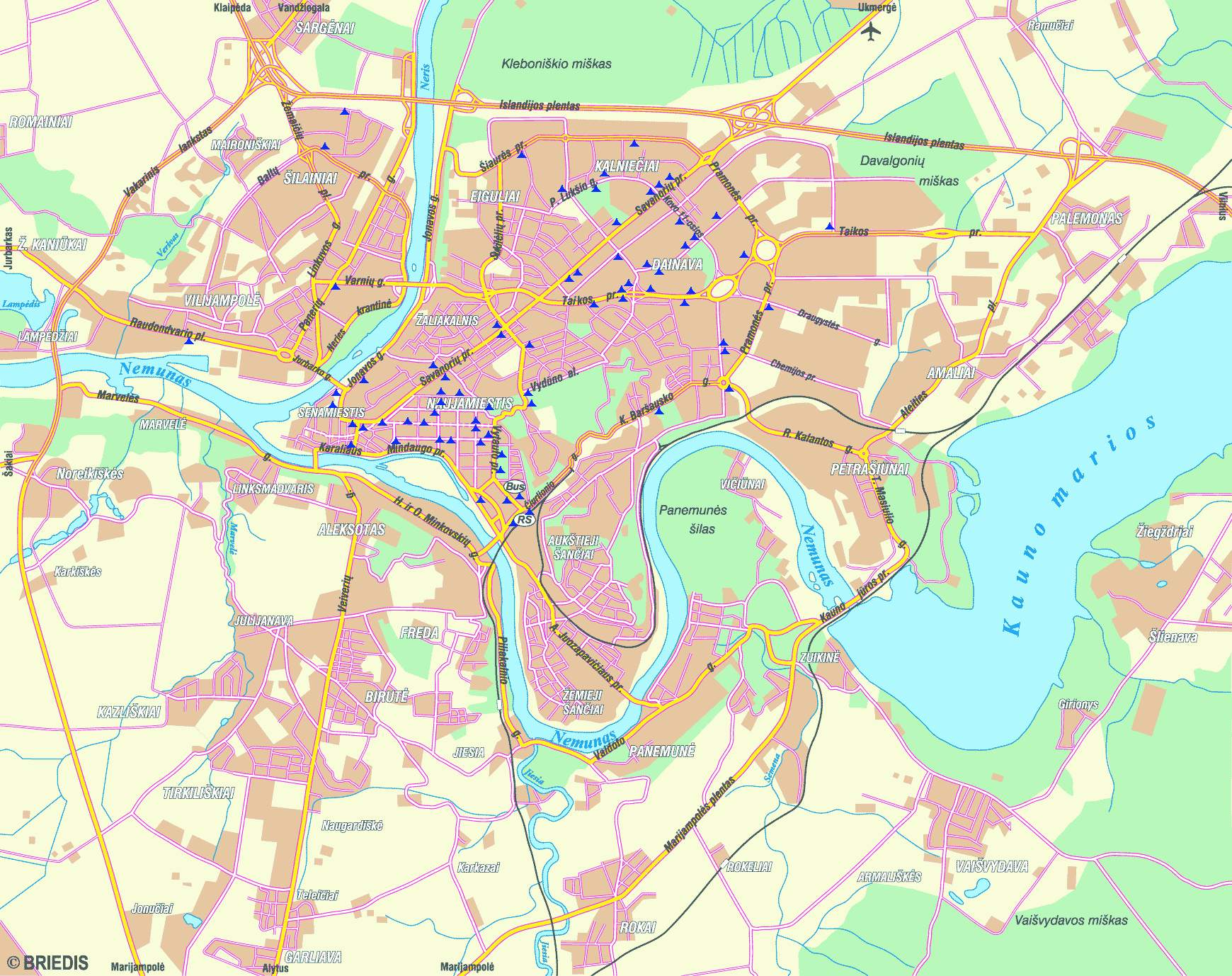 Large Kaunas Maps for Free Download and Print HighResolution and