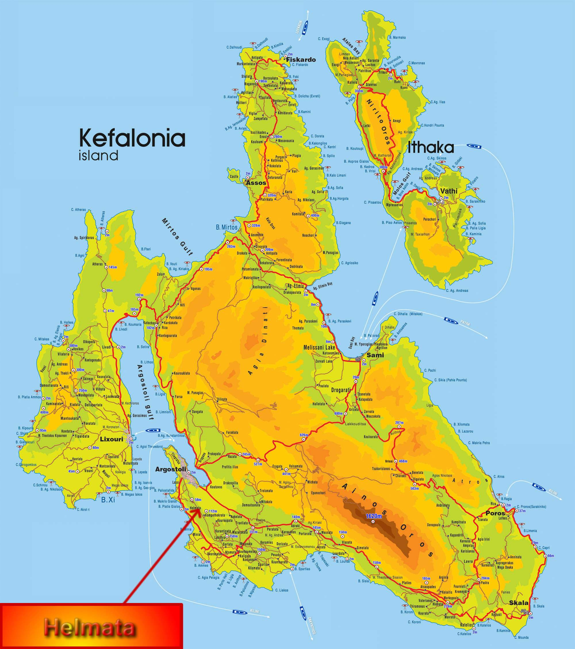 Kefalonia Island Map Large Kefallonia Maps for Free Download and Print | High