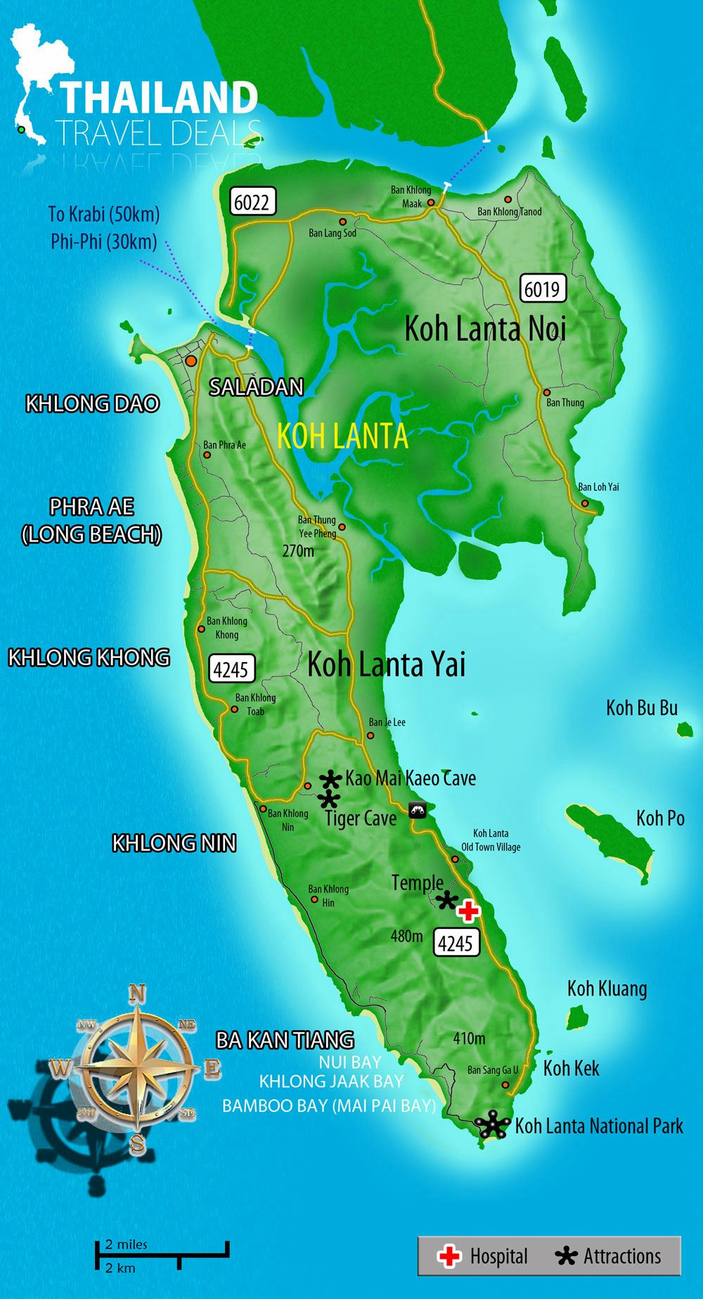 Large Ko Lanta Island Maps for Free Download and Print High